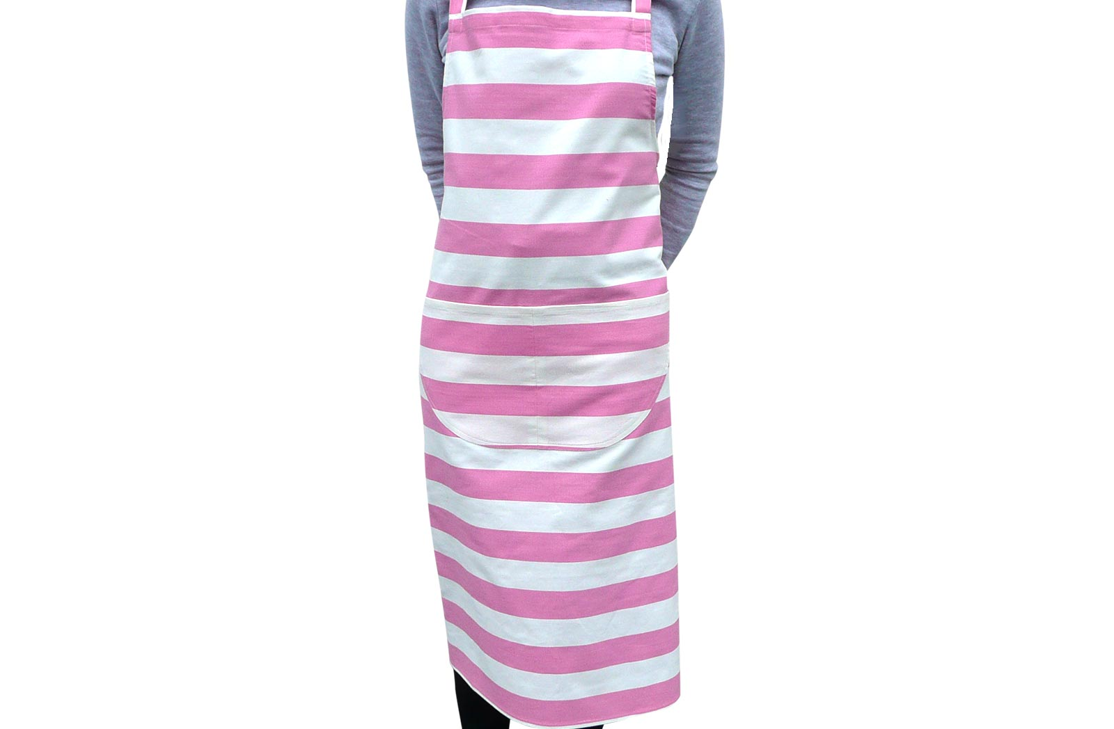 Pink and White Striped Apron