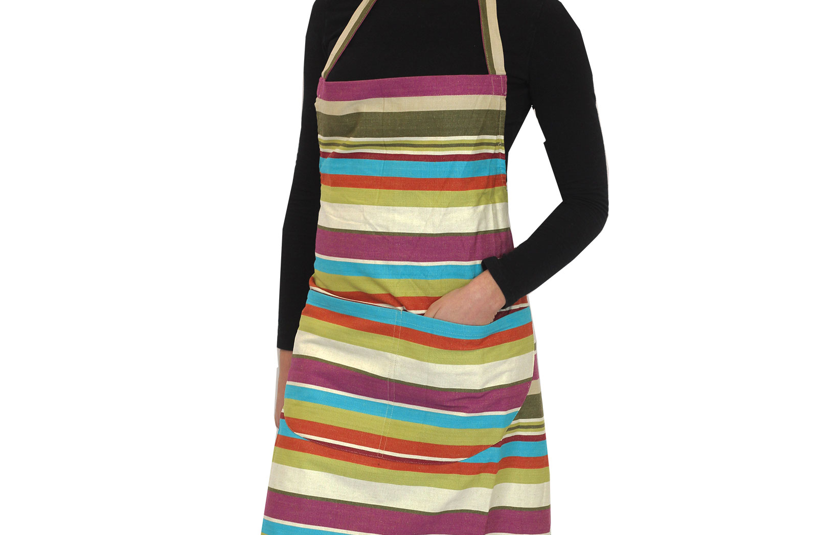 cream, green, turquoise - Striped Cotton Aprons