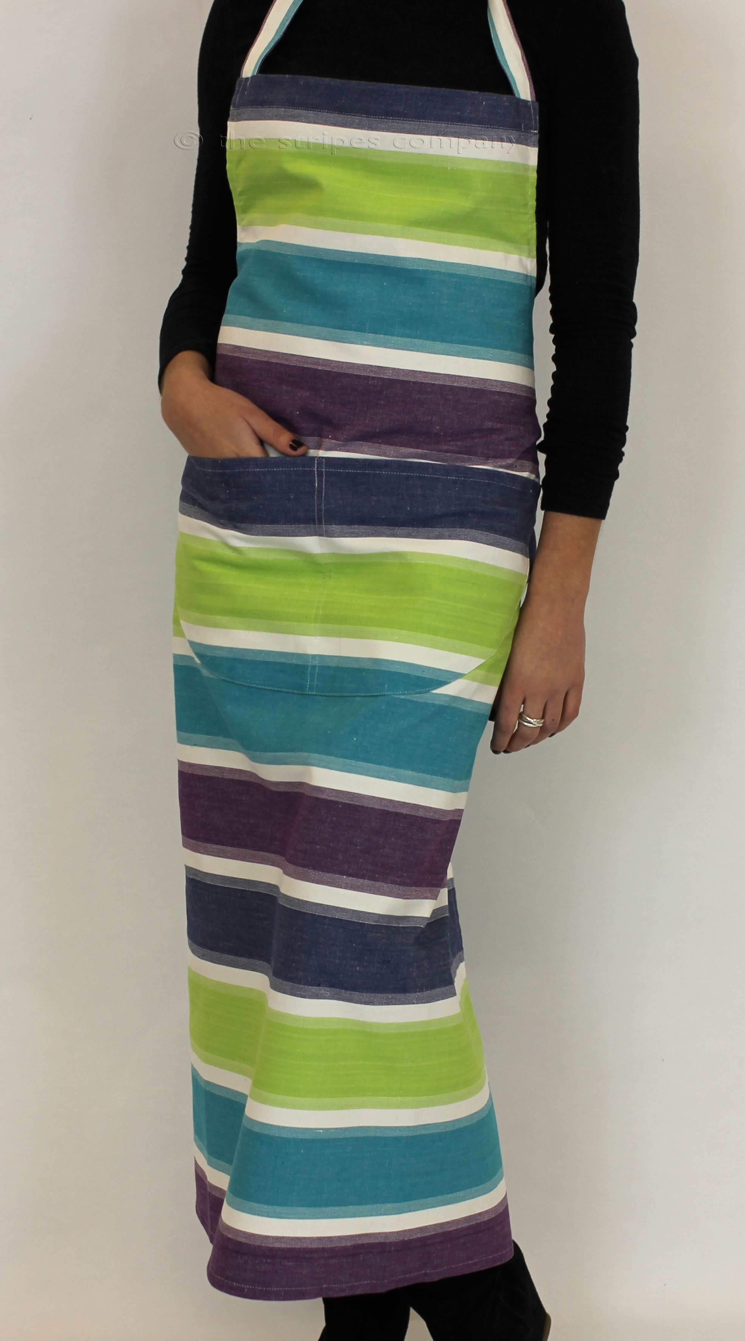 Striped Apron - turquoise, navy blue, lime green and white bold stripes