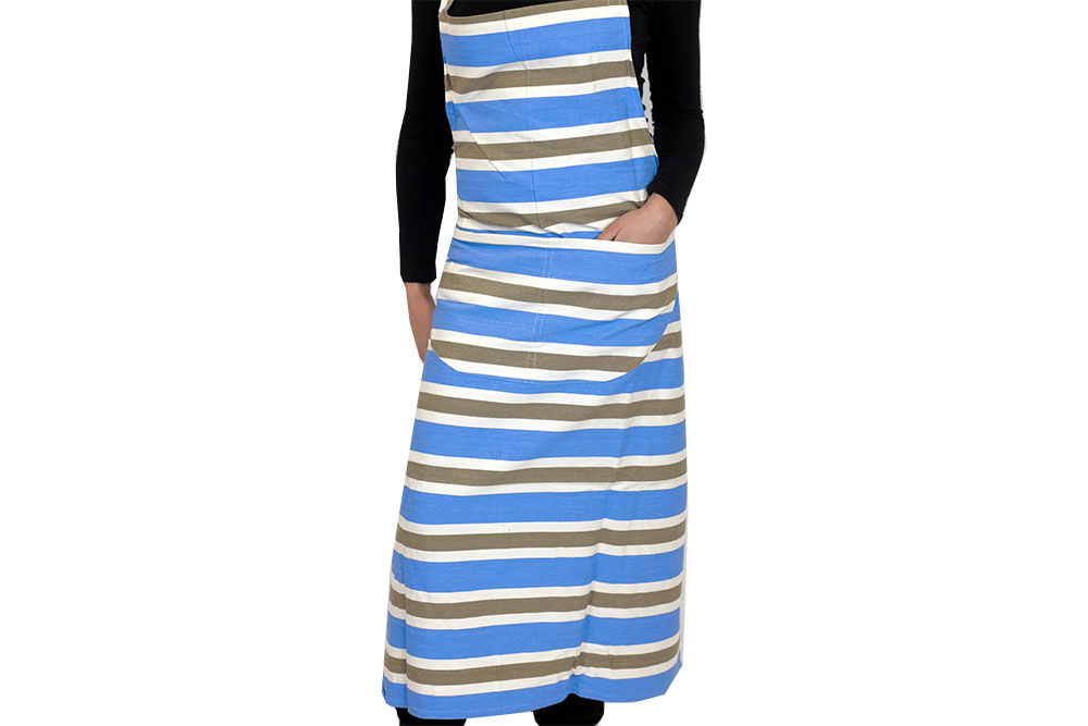Sky Blue Striped Aprons Sky Blue  Beige  White Stripes