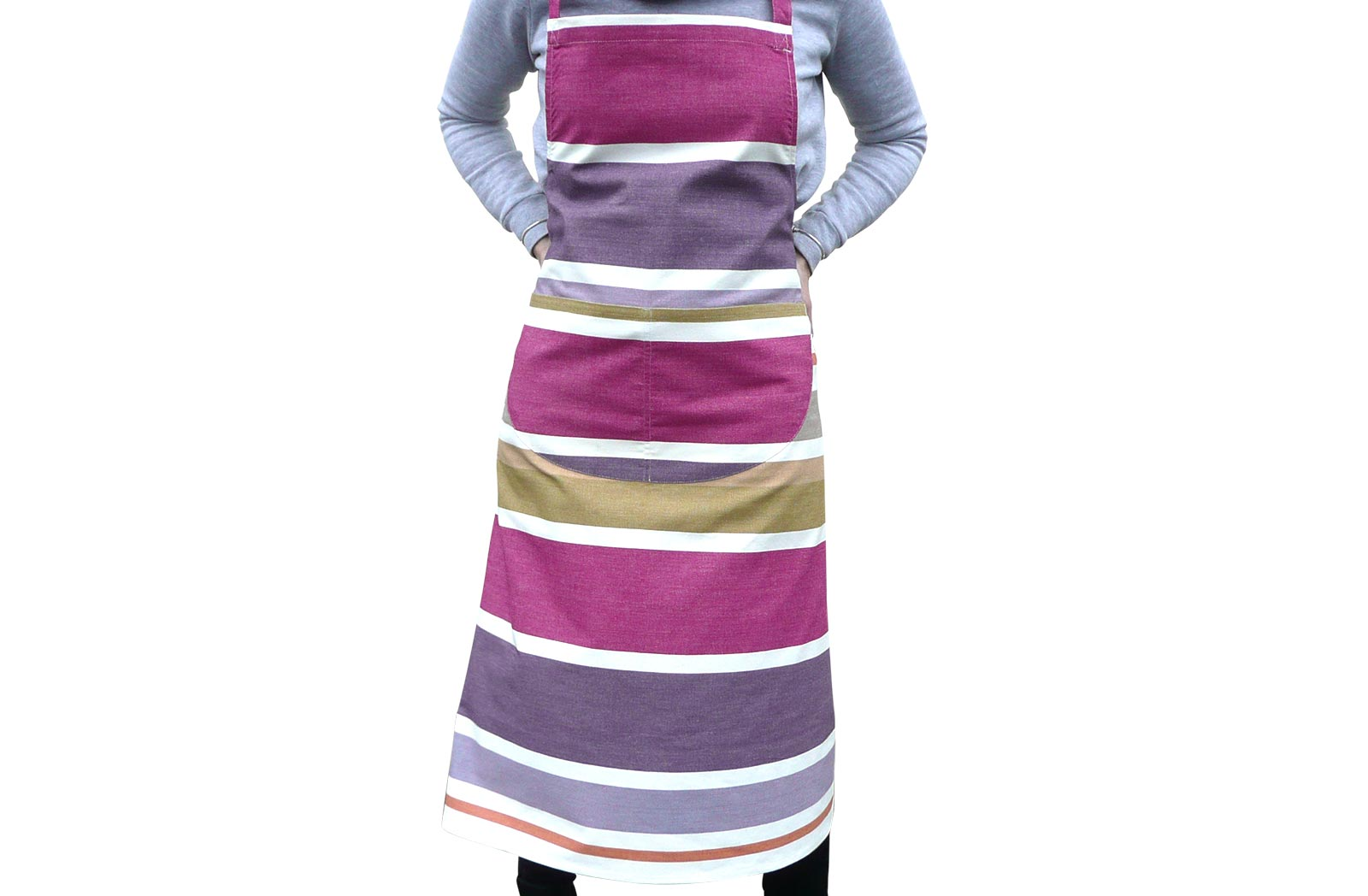Purple Striped Cotton Aprons - Marbles Stripe