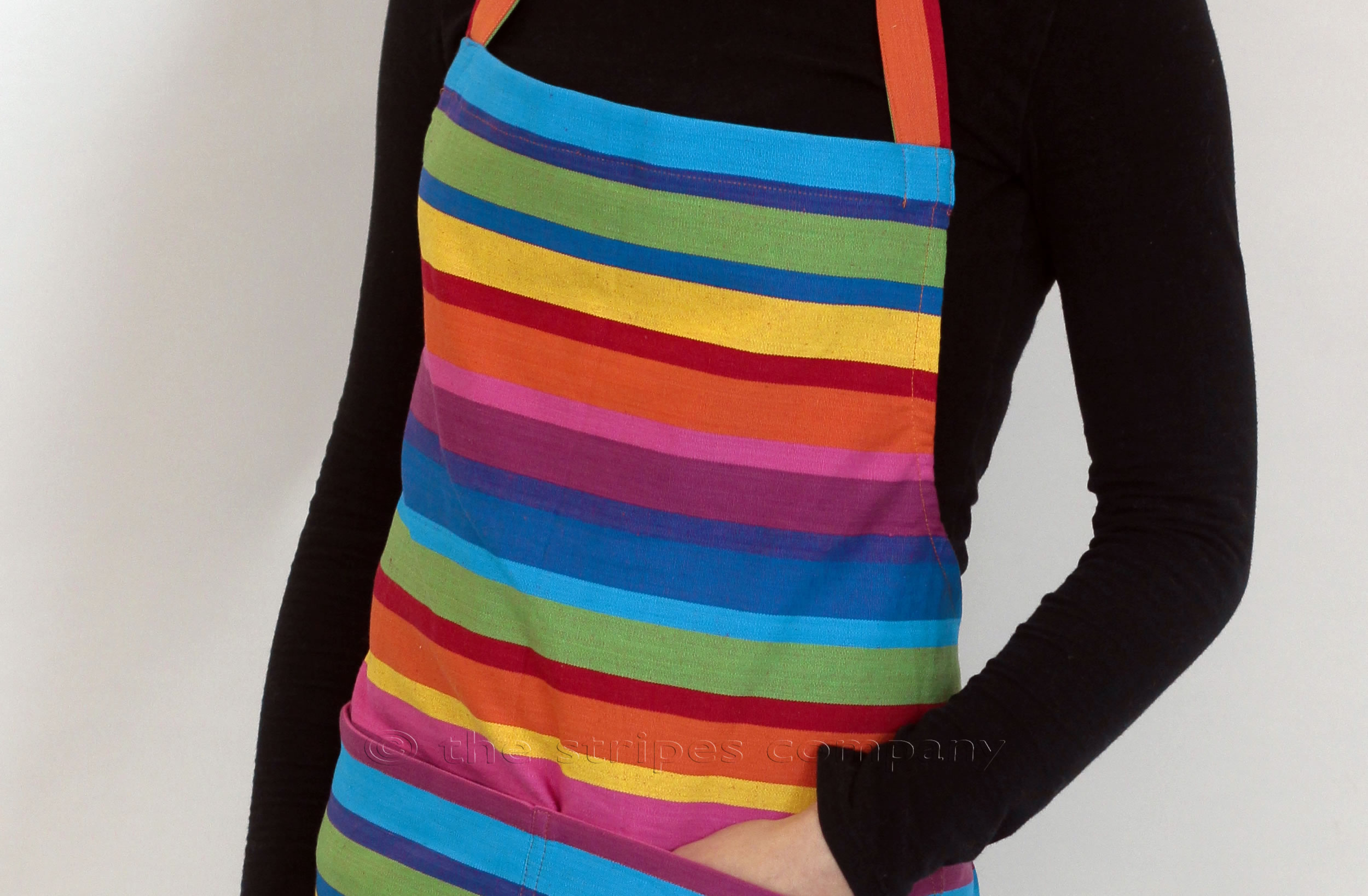 multi colour pink green blue - Striped Cotton Aprons