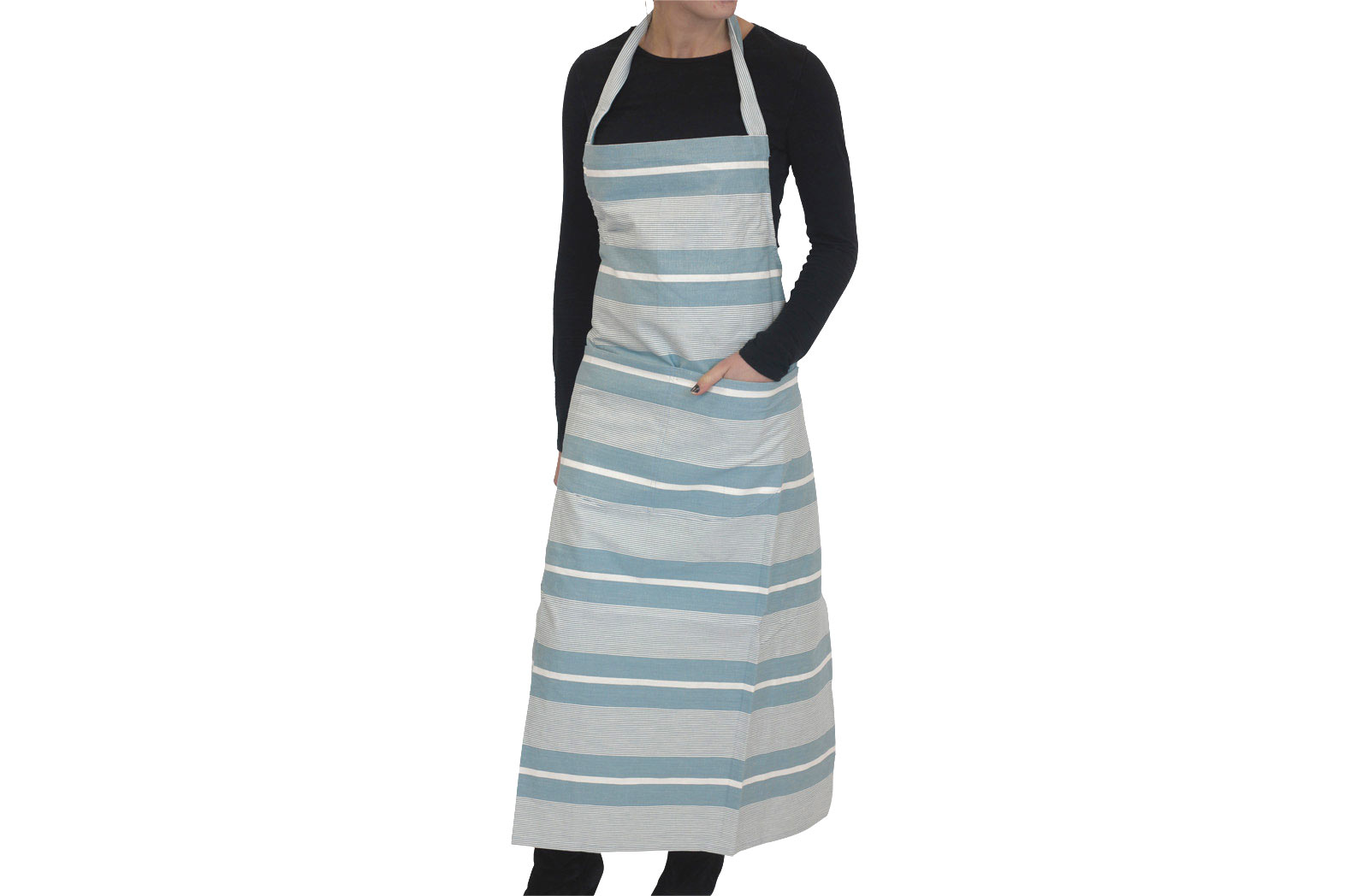 Teal Striped Apron Teal  Aqua  White Stripes