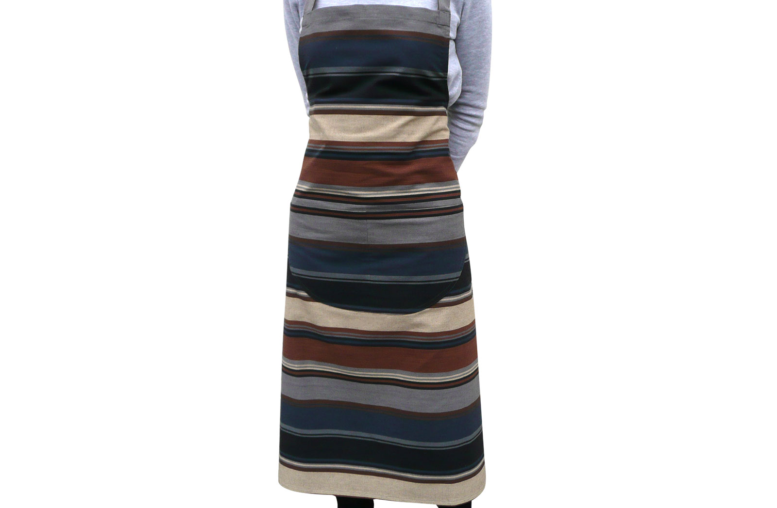 Grey Striped Aprons - Grey,  Dark Grey,  Dark Brown  Stripes