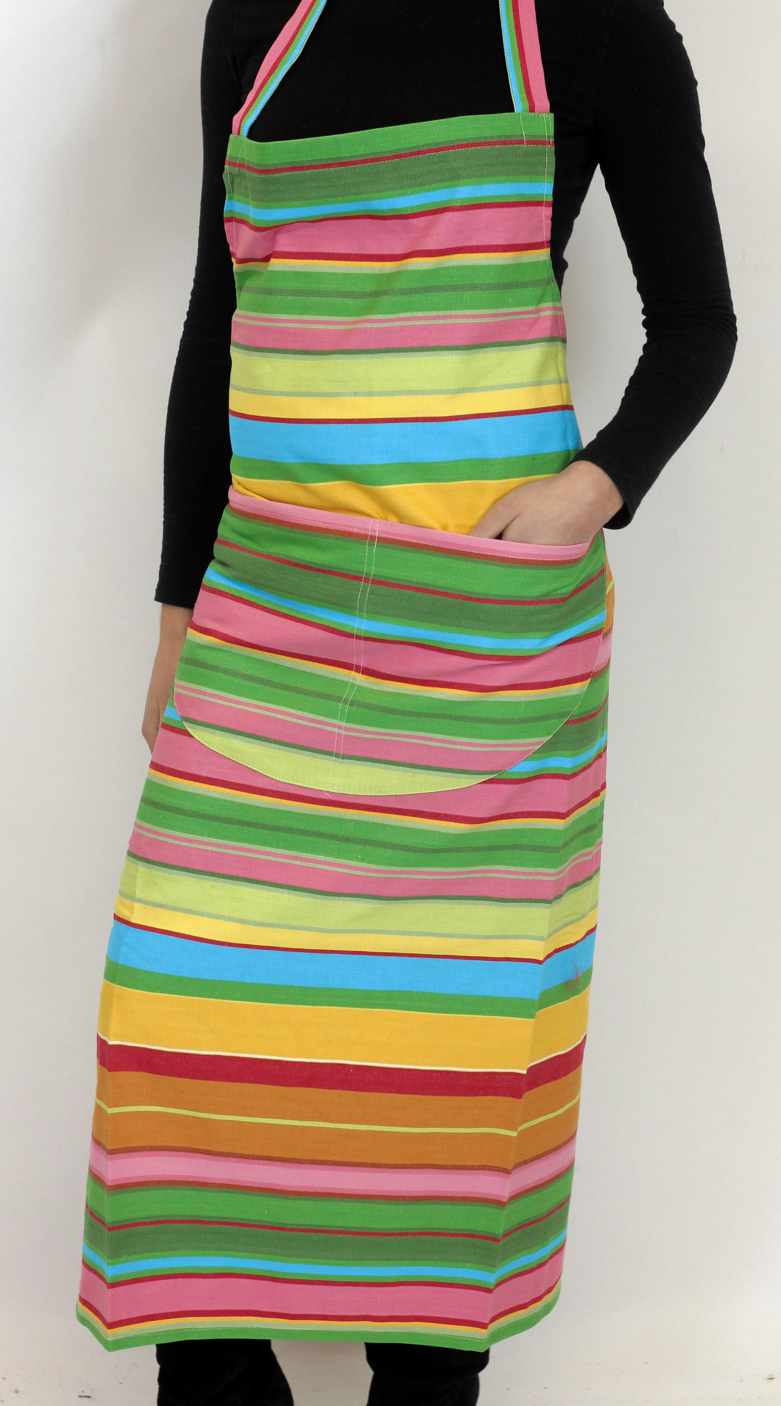 Pink Striped Aprons Pink  Green  Turquoise  Stripes