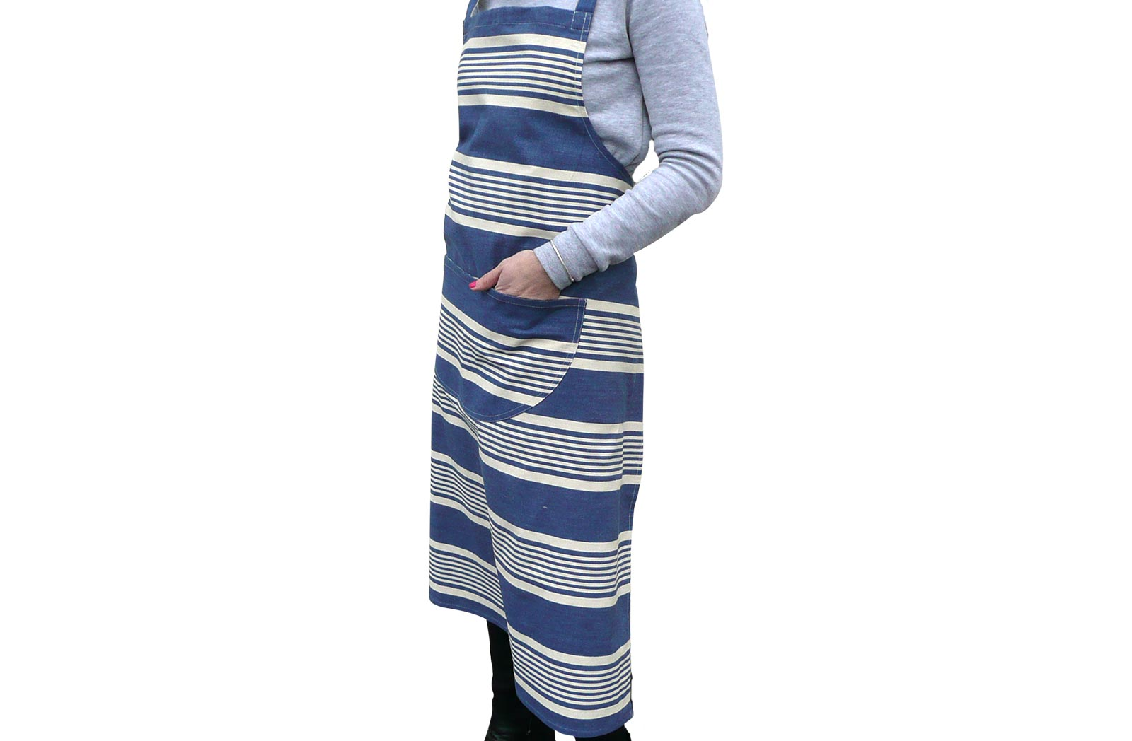 Navy Blue and Off White Striped Aprons