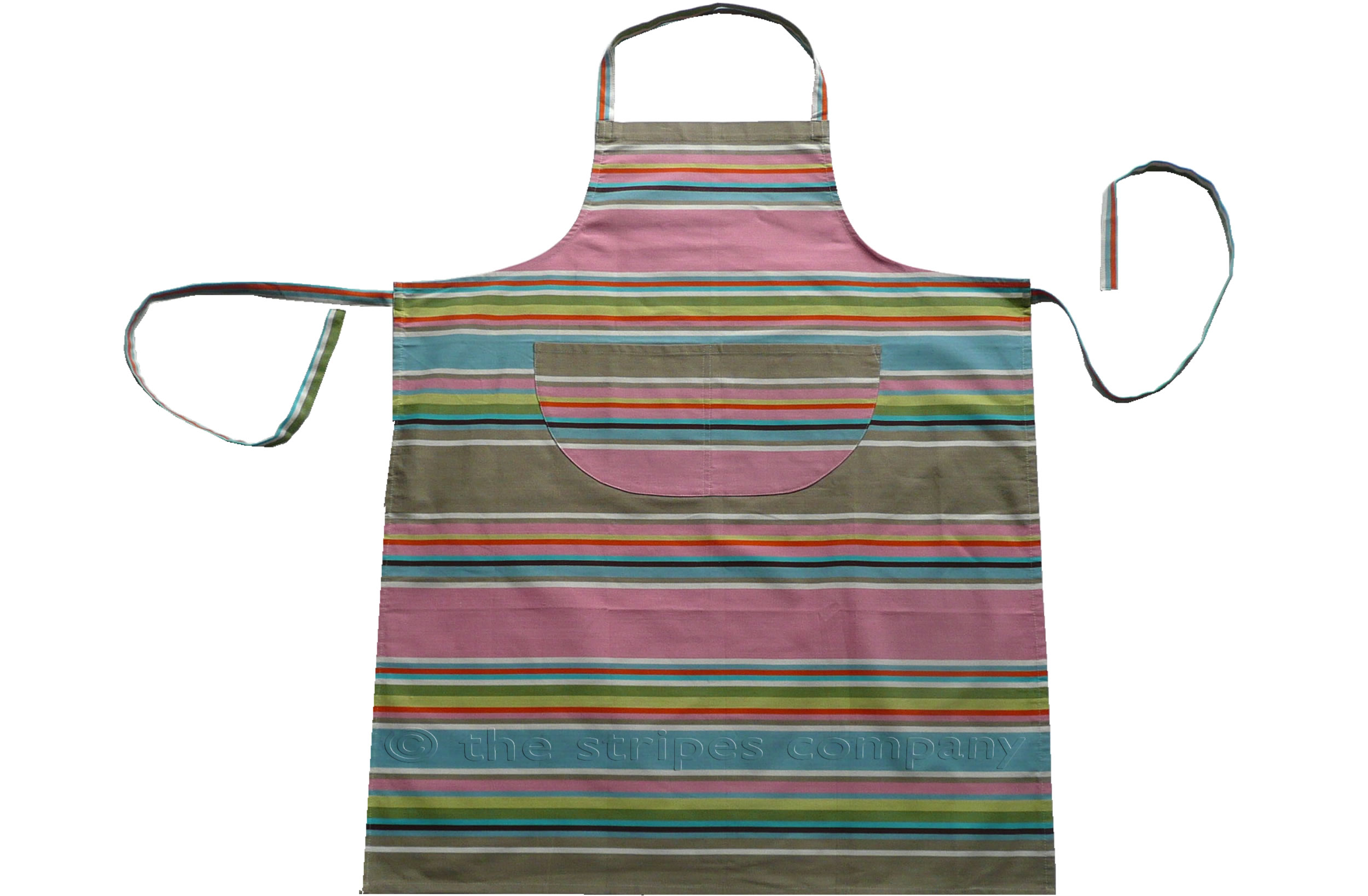 pink, taupe, blue - Striped Cotton Aprons