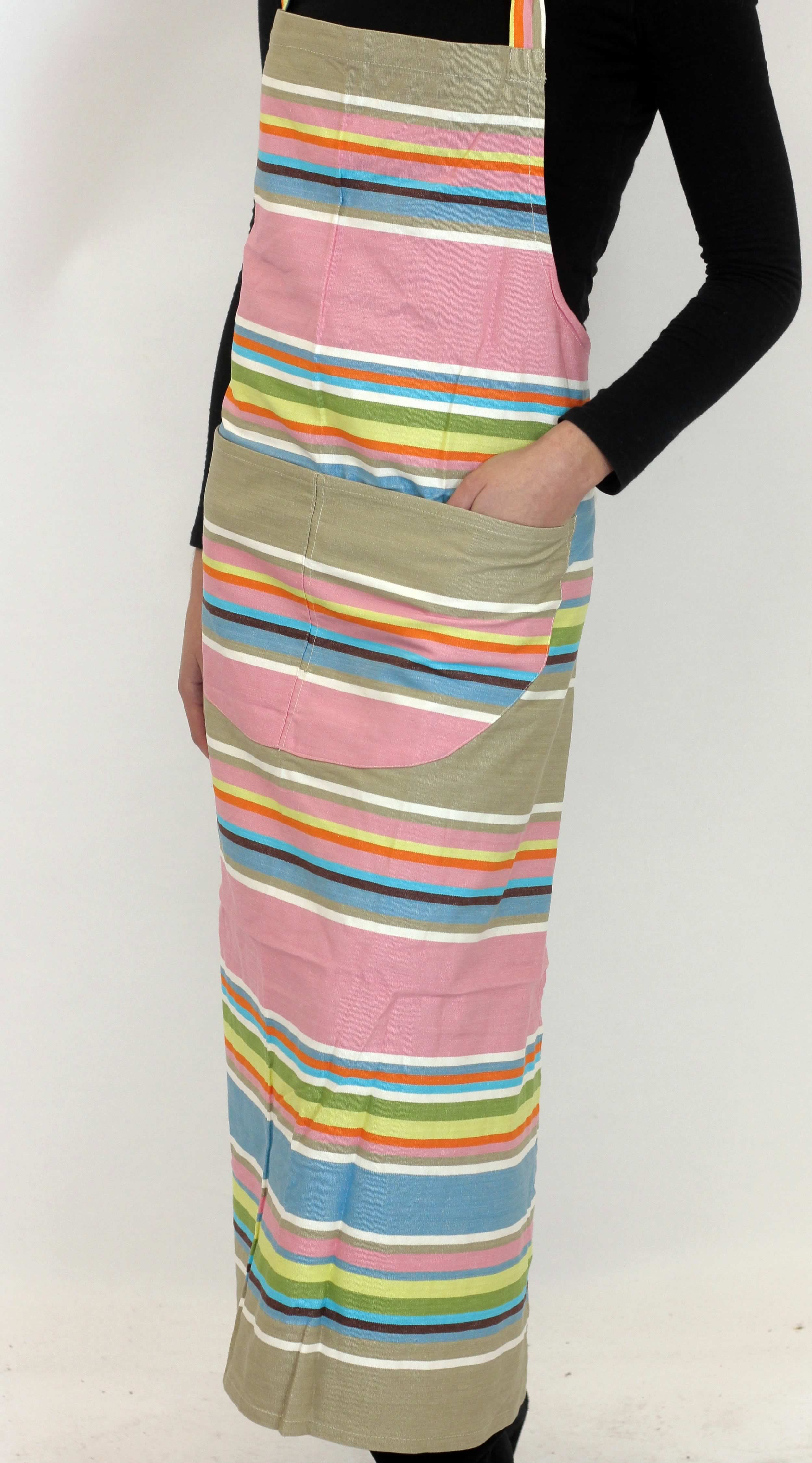 Pink Striped Aprons Pink  Grey  Blue  Stripes