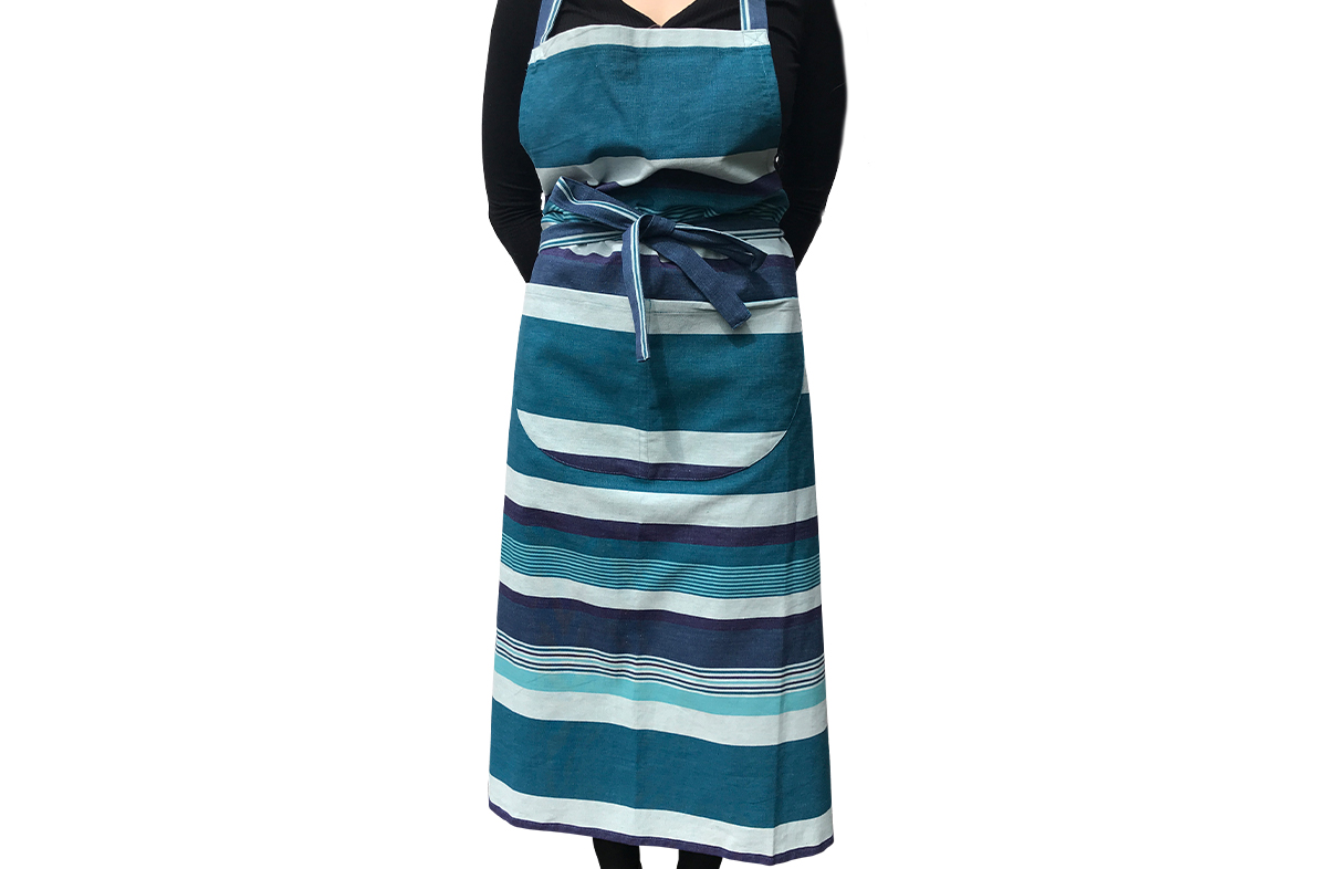 Teal, Aquamarine & French Navy Striped Aprons
