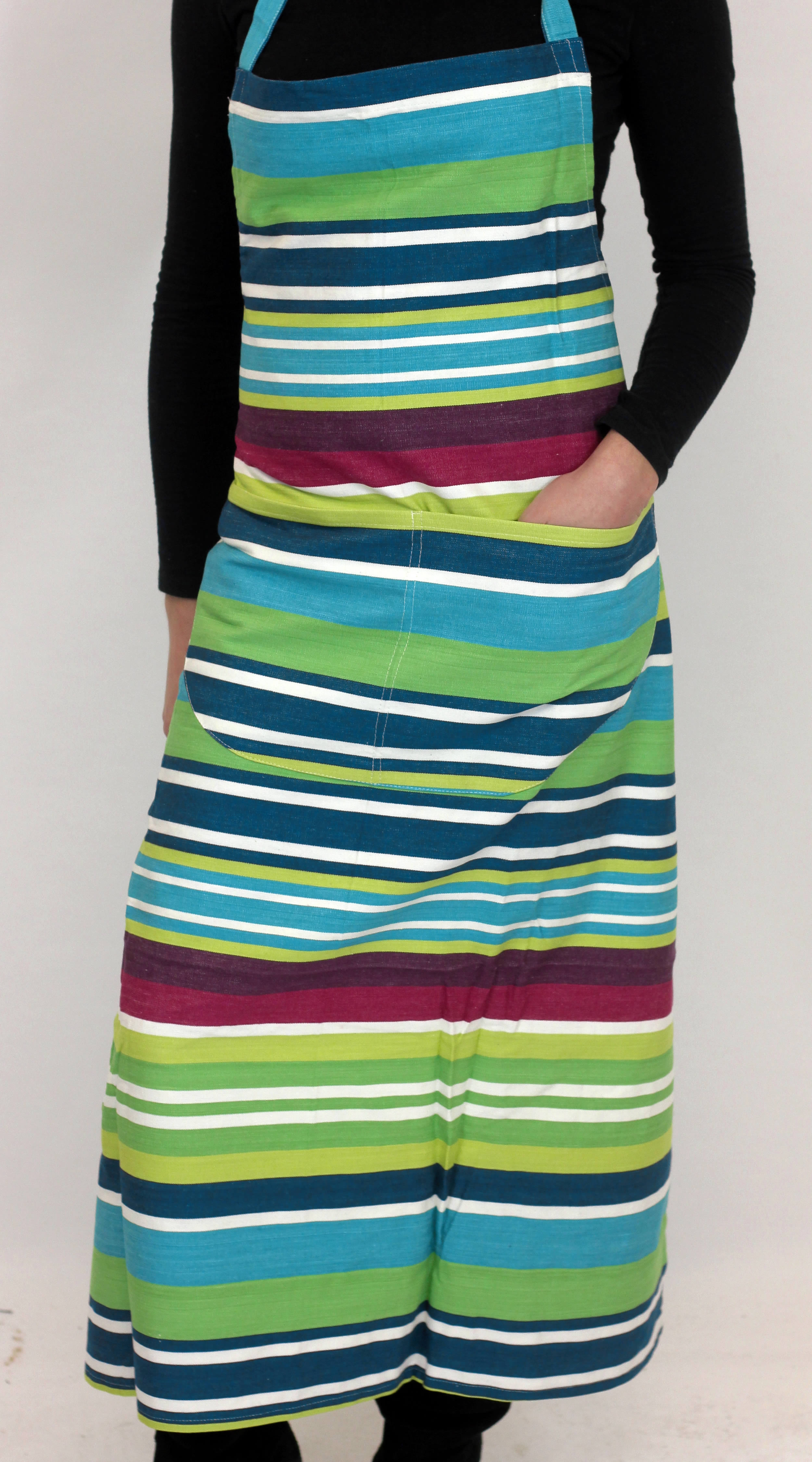 Navy Striped Aprons Navy  Turquoise  Lime  Stripes