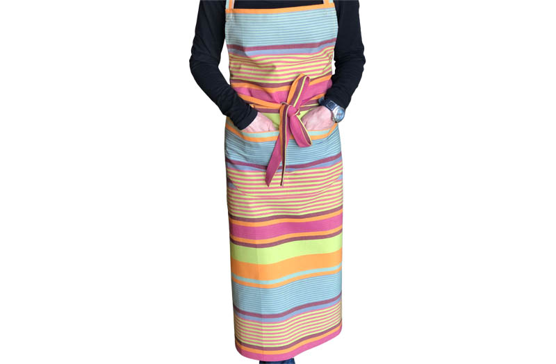 Striped Aprons lime green, pink, orange, burgundy and teal stripes