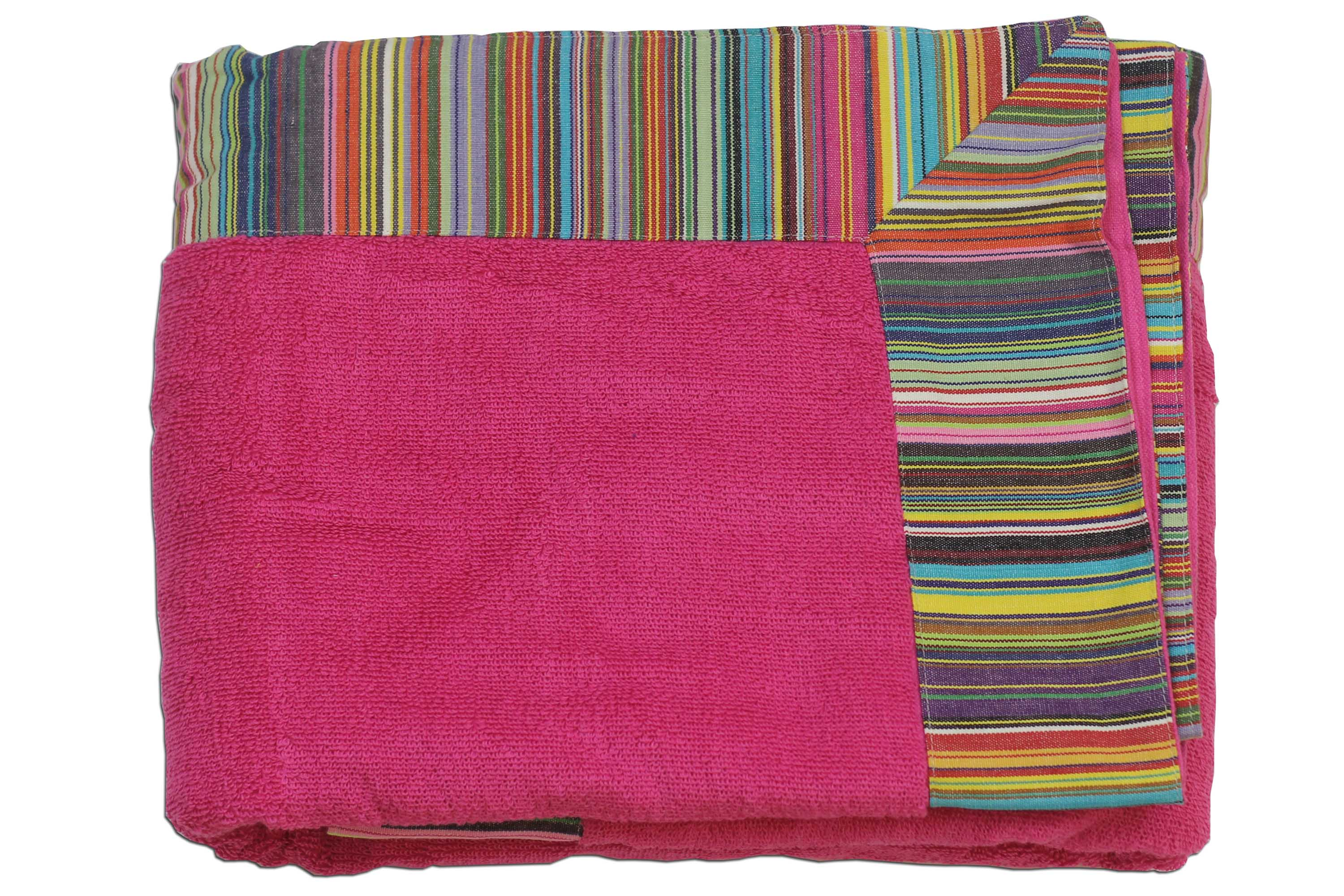 Extra Large Pink Beach Towel  with Multi Stripe Border