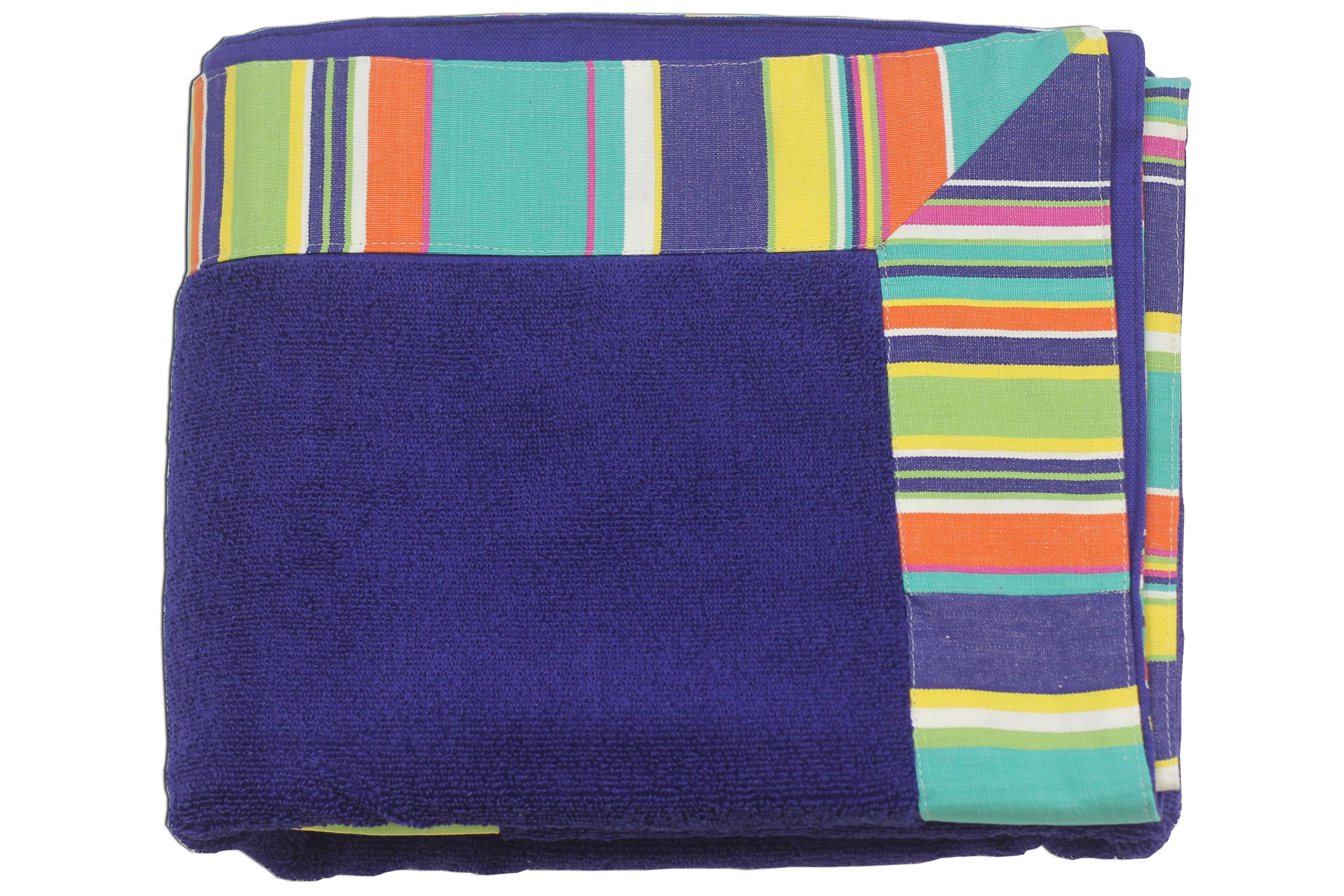 Extra Large Royal Blue Beach Towels | Extra Large Blue Beach Towels with Striped Border Royal Blue Turquoise  Pale Green Stripes