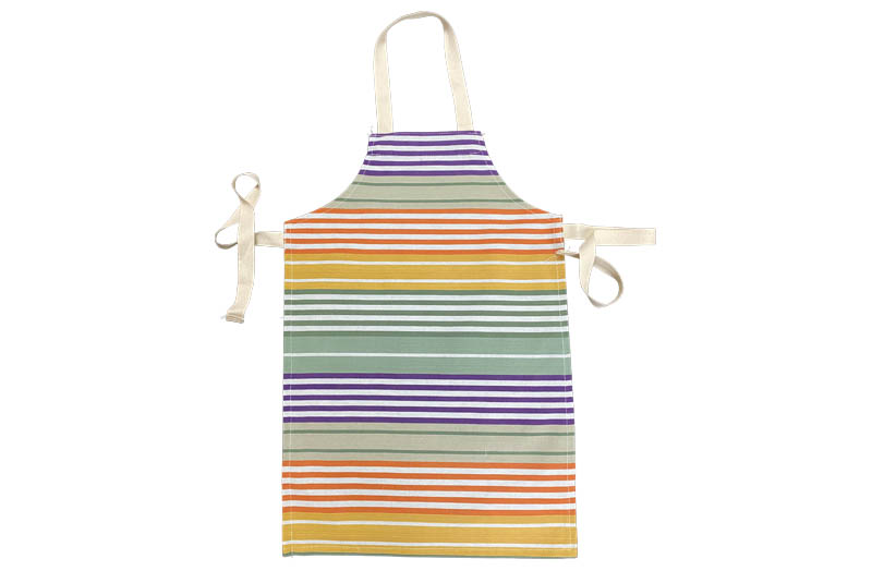 Striped Childrens Aprons Sage green, purple, mustard stripes