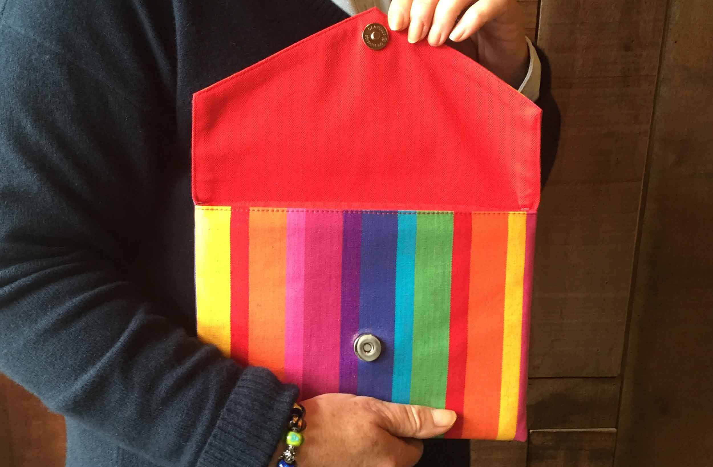 Small Rainbow Stripe PVC Clutch Bag  Rummy Stripes