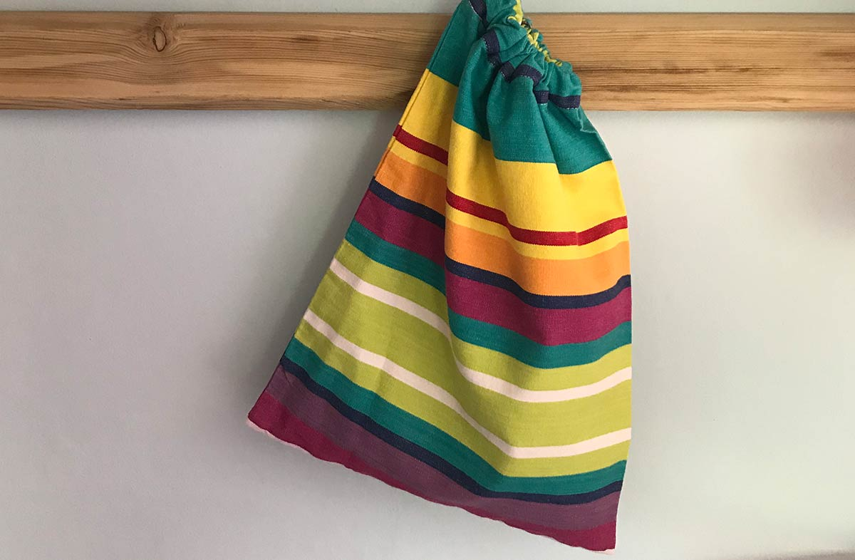Aerobics Shoe Bags | Striped Drawstring Bags turquoise, green, red