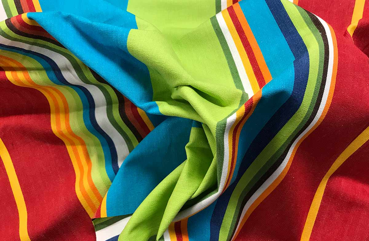 Lime Turquoise and Red Striped Fabric