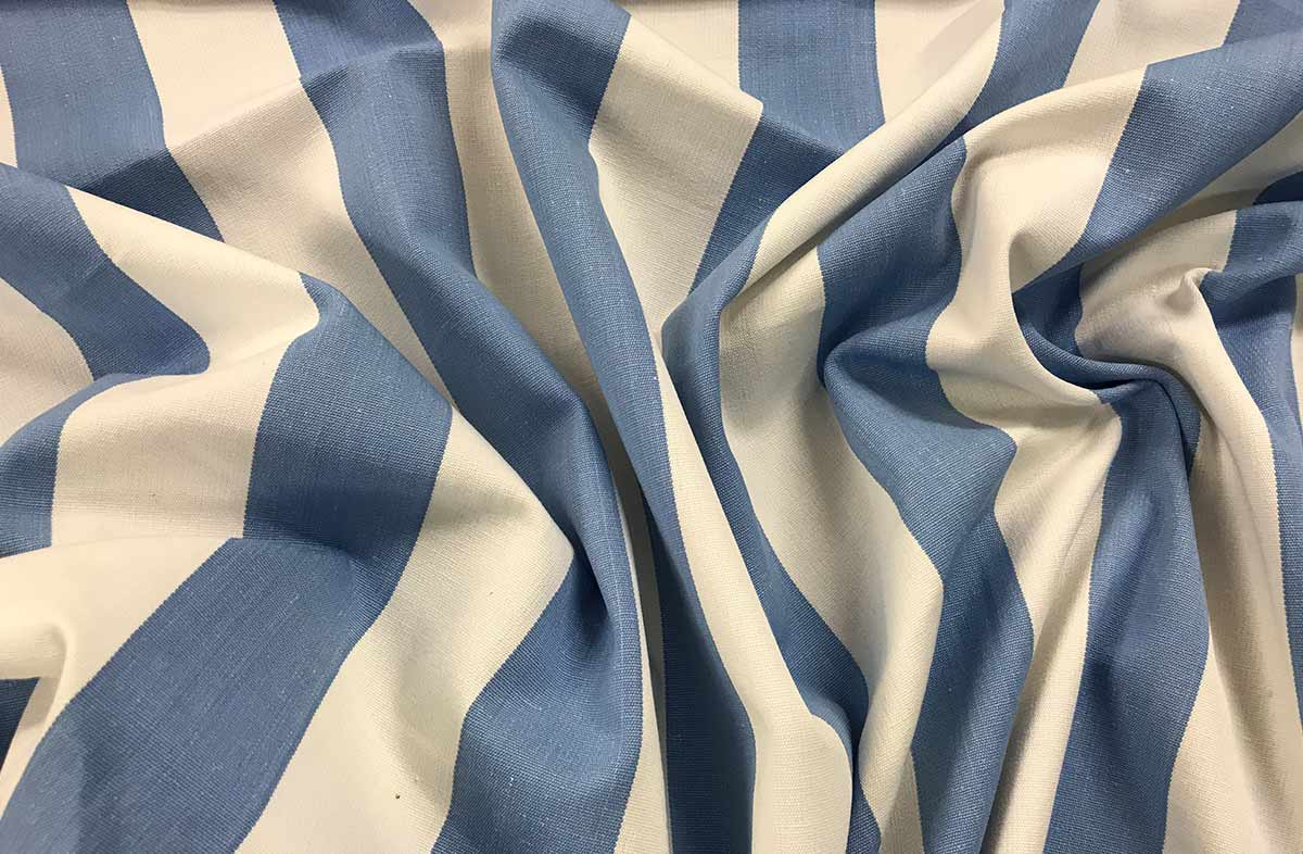Sky Blue and White Striped Fabric