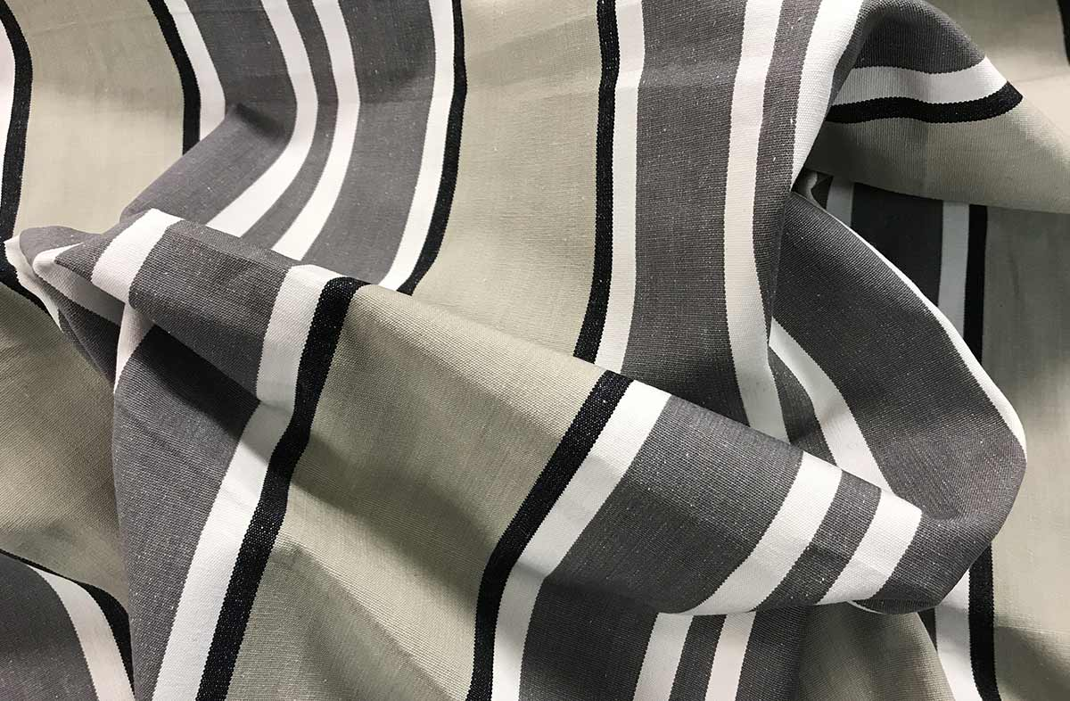 Grey Stripe Cotton Curtain Upholstery