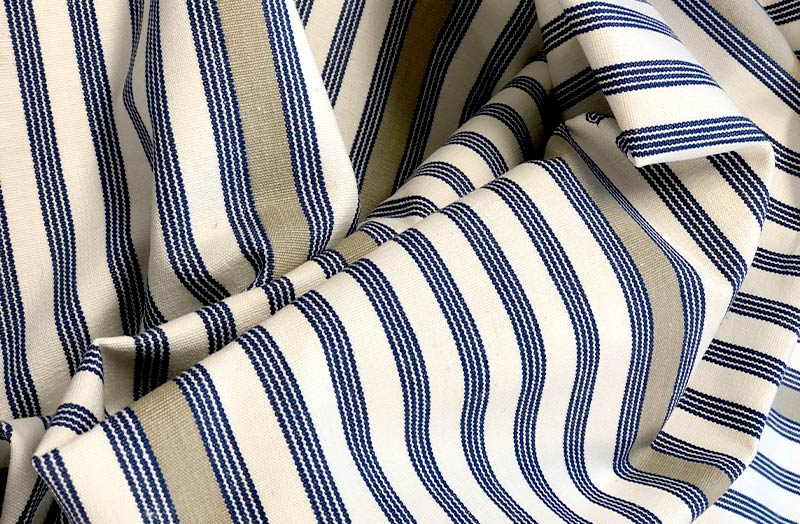 Cream, Blue and Beige Stripe Fabric