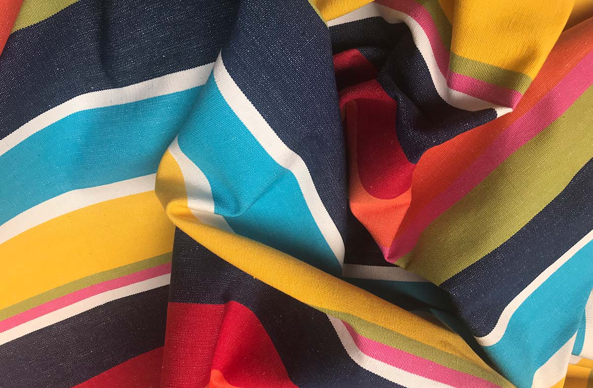 Bright Bold Striped Fabric of dark blue, turquoise, yellow, terracotta, white