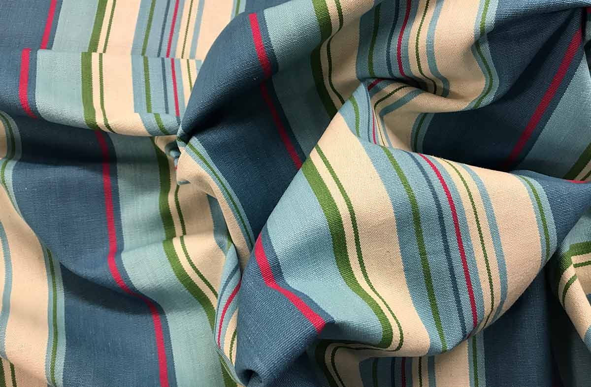Petrol Blue Striped Fabrics | Stripe Cotton Curtain Fabrics