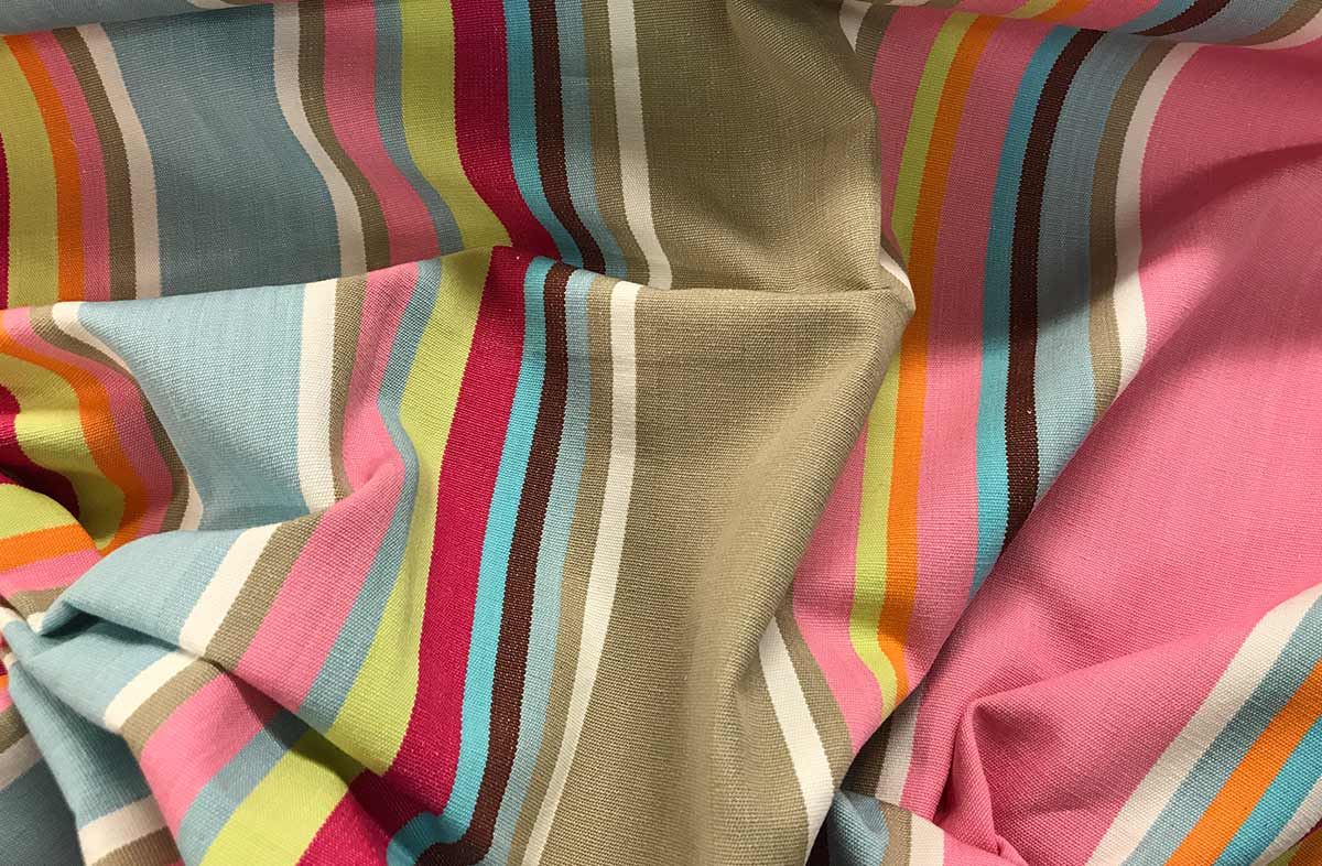 Pink Taupe Blue Striped Fabric