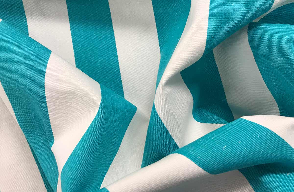 Turquoise and White Striped Fabric - Surfing Stripe