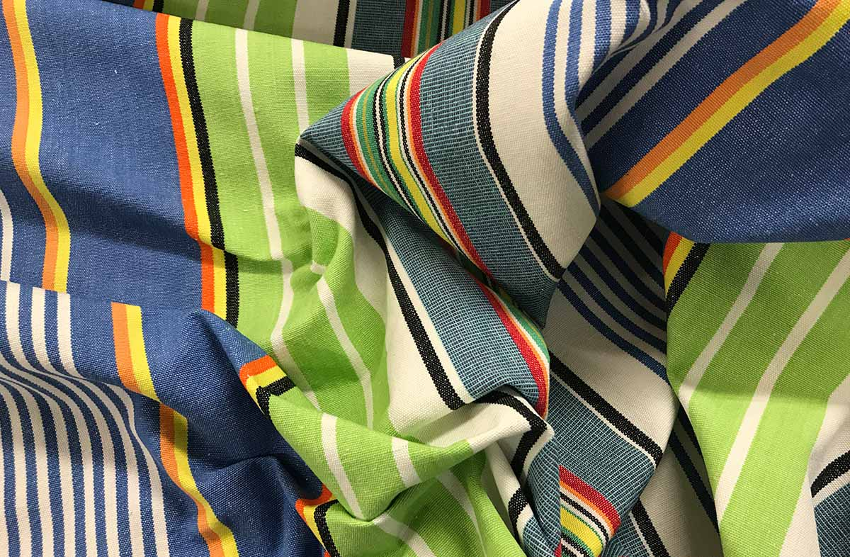 Blue and Green Striped Fabric - Tumbling Stripe