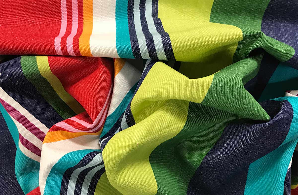Green, blue and red stripe fabric