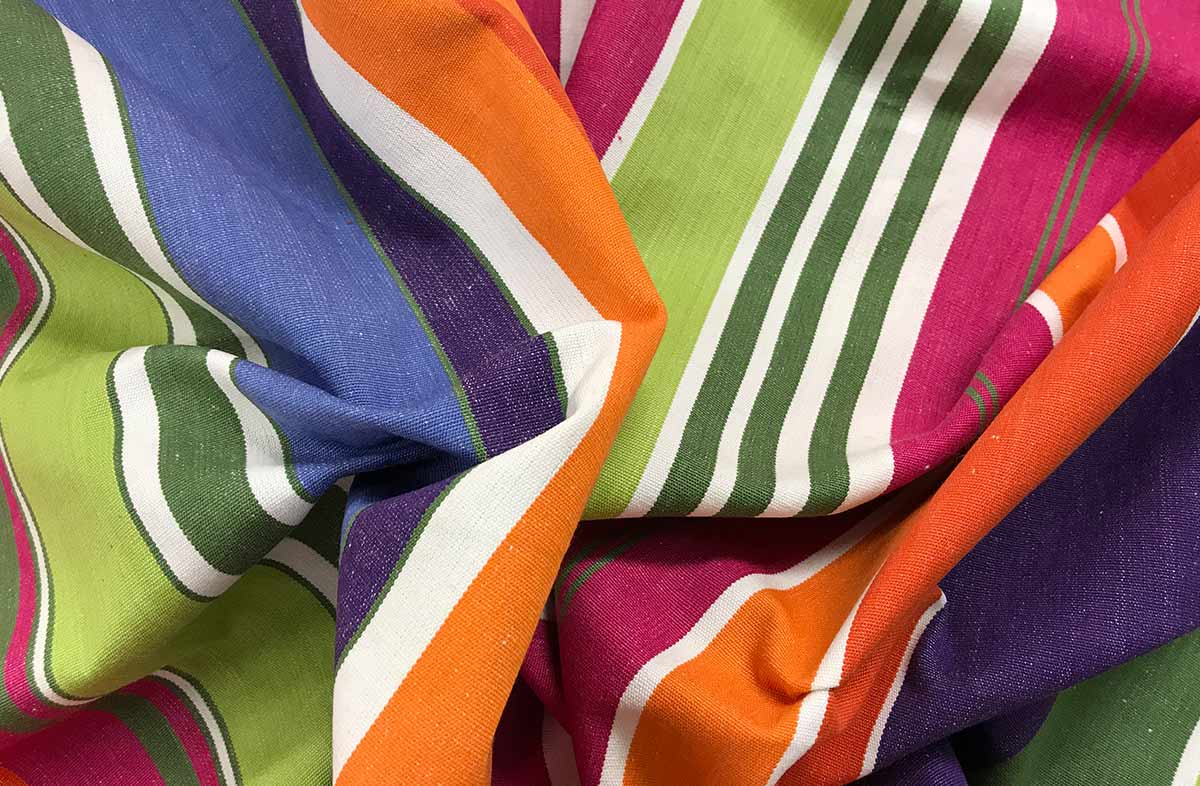 Weightlifting Pink and Green Striped Fabric