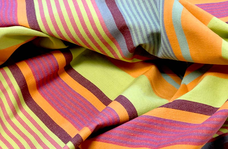 Lime Green, Pink, Orange, Burgundy Striped Fabrics | Stripe Cotton Fabrics