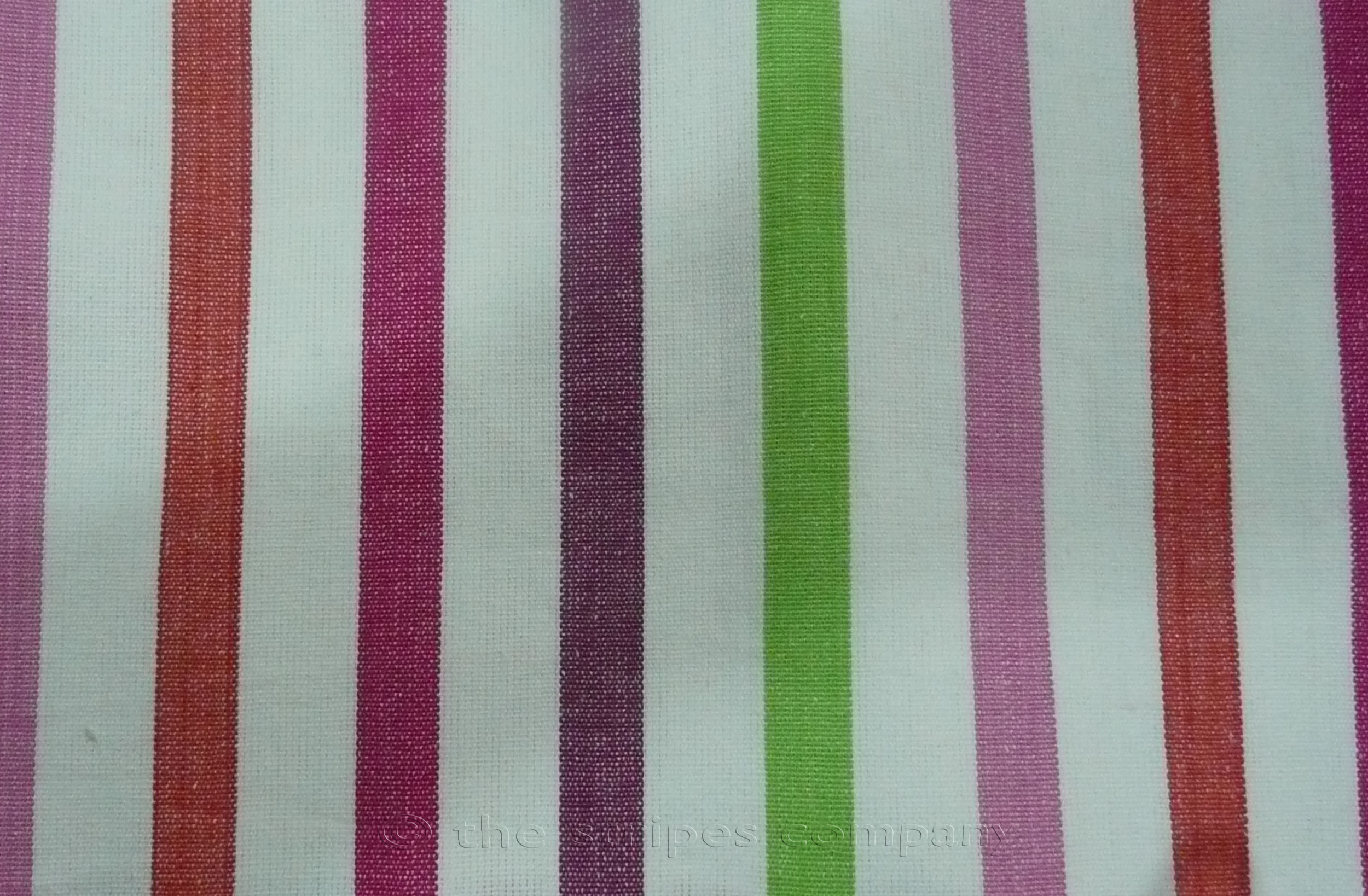 Striped Fabric White Pink Purple Lime Stripes | Striped Curtain Fabrics | Upholstery Fabrics