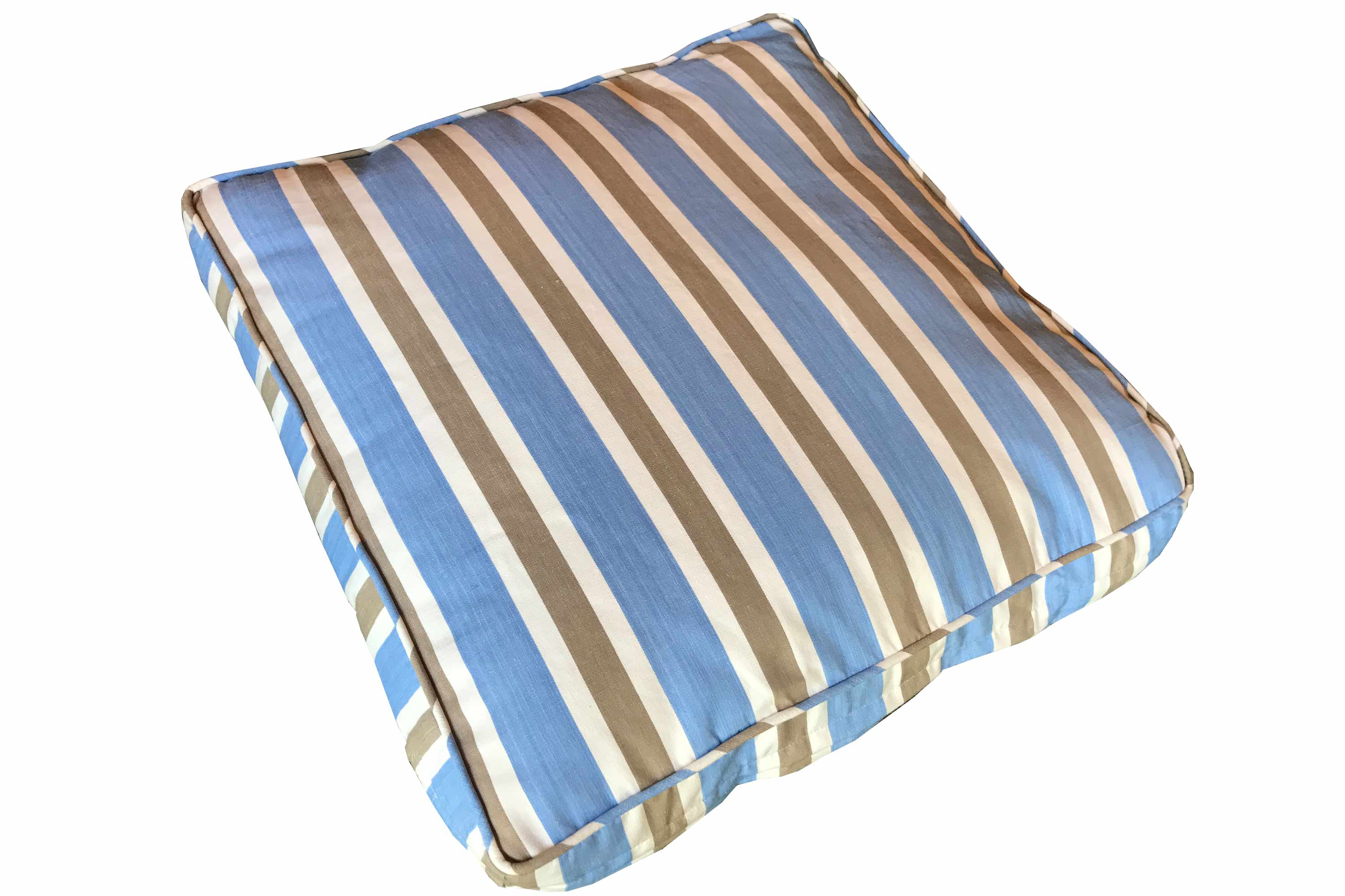 Sky Blue, Beige, White Stripe Large Floor Cushions