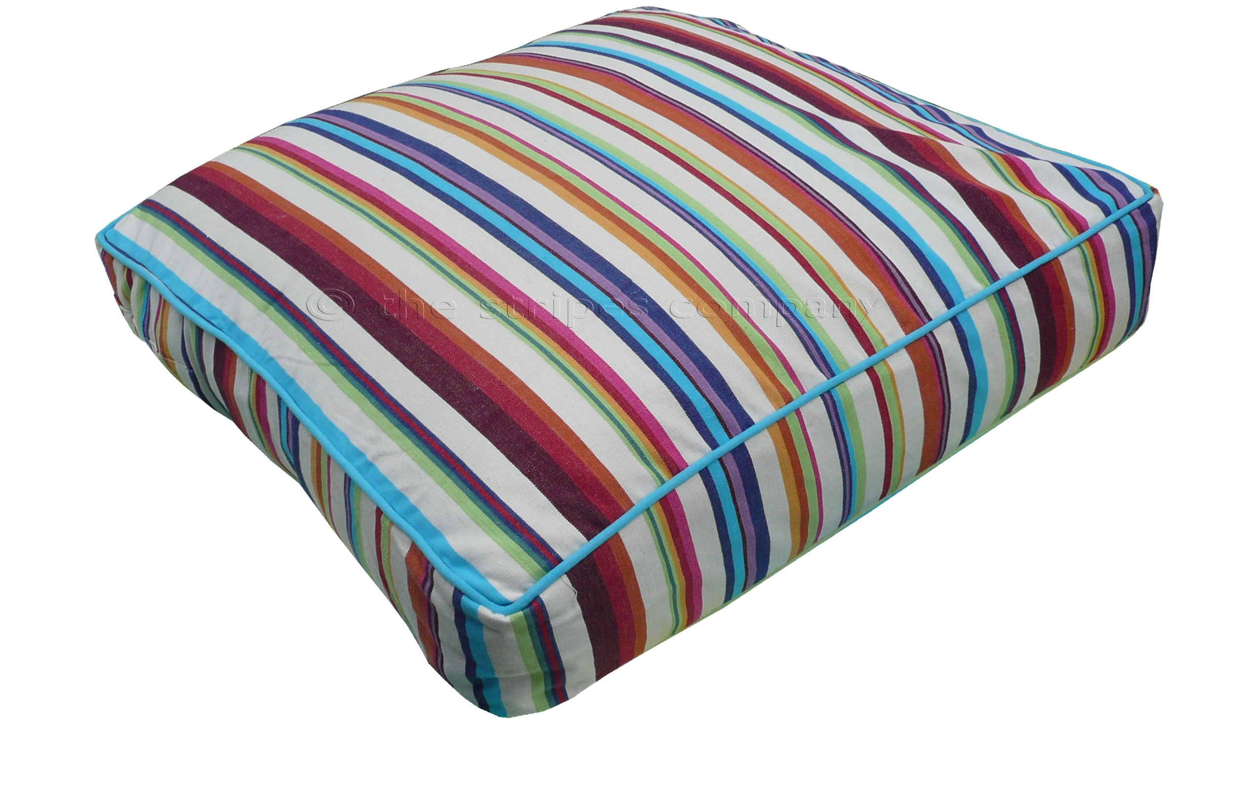 Cream Large Floor Cushions - Basketball Stripe