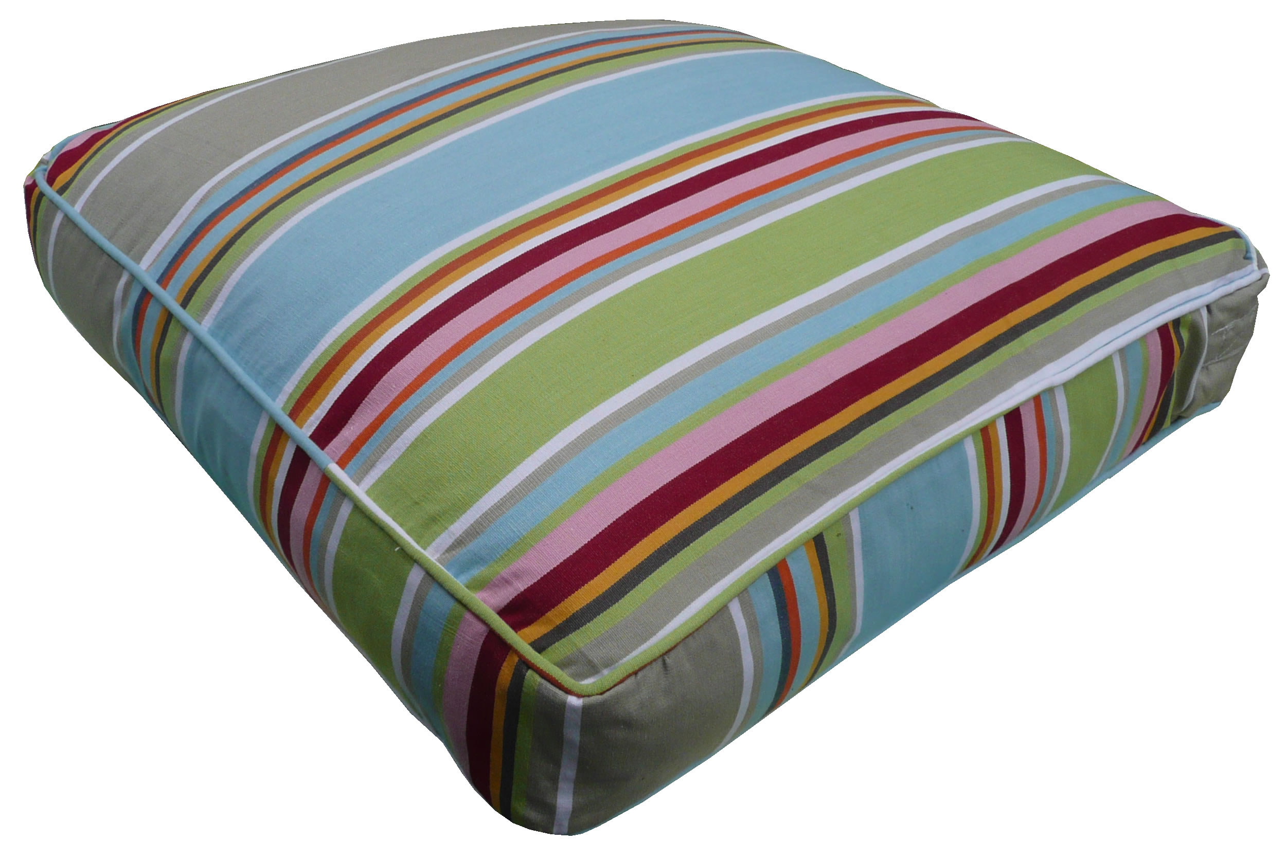 Duck Egg Blue Large Floor Cushions - Cricket Stripe