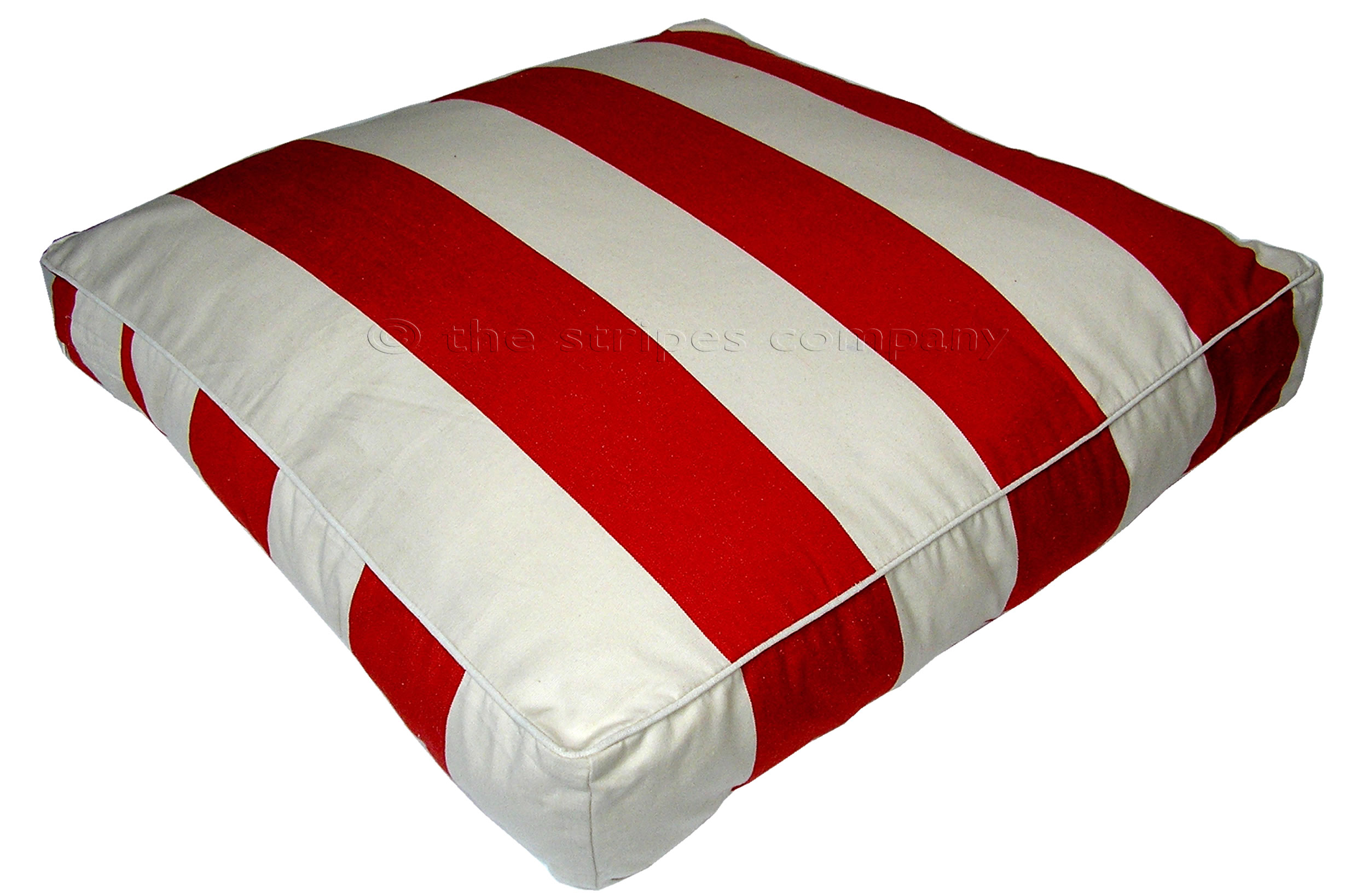 Red And White Large Floor Cushions Juggling Stripe The