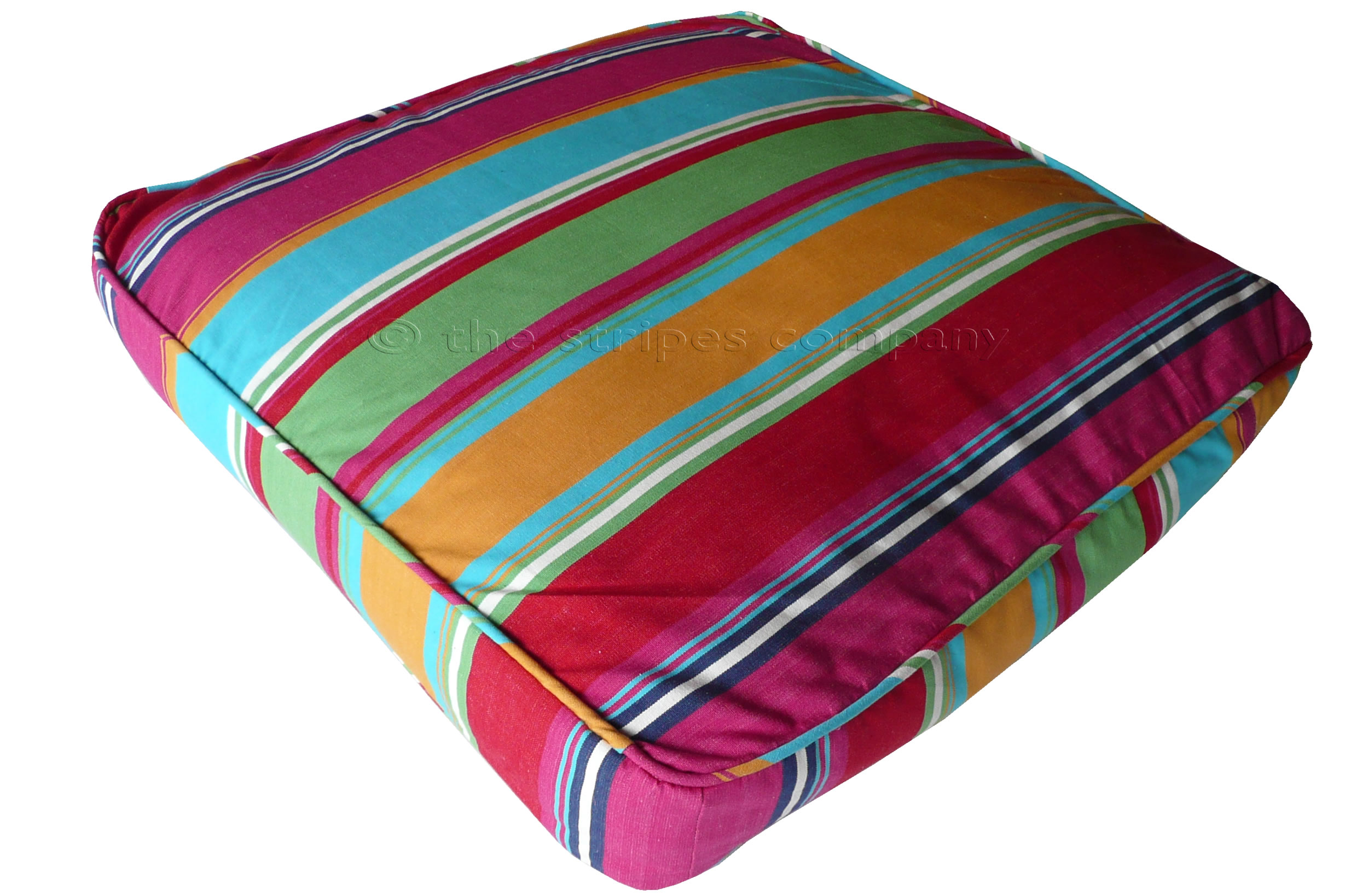 Pink Striped Floor Cushions | Large Square Piped Floor Cushions Karting Pink Stripe