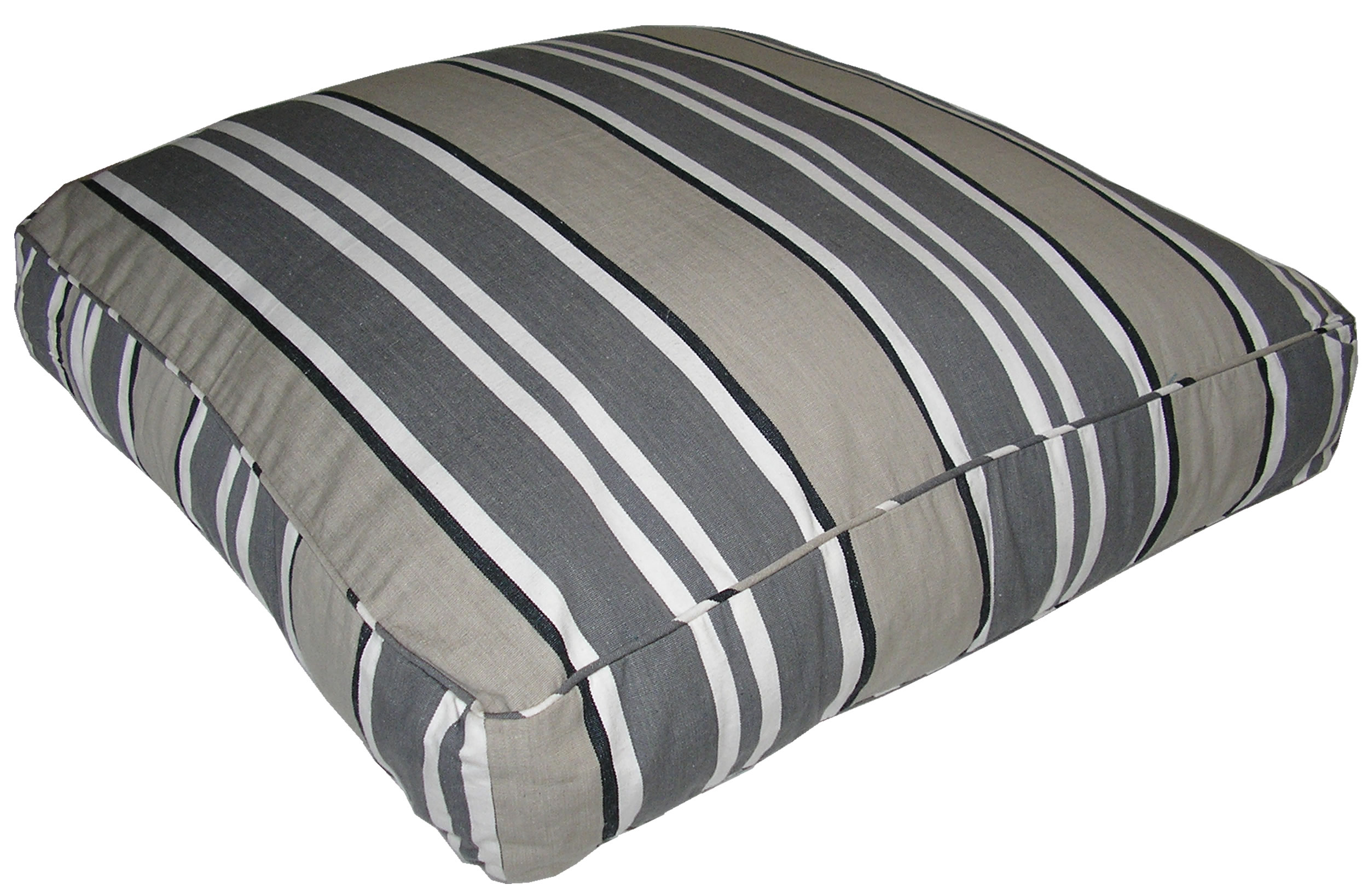 Grey Large Floor Cushions - Kendo Grey Stripe