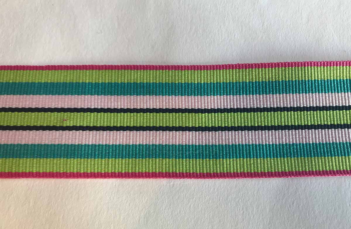 Stripe Grosgrain Ribbon mint green, turquoise, white, pink