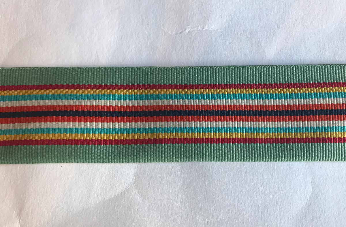 Aqua Stripe Grosgrain Ribbon 3.5cm wide
