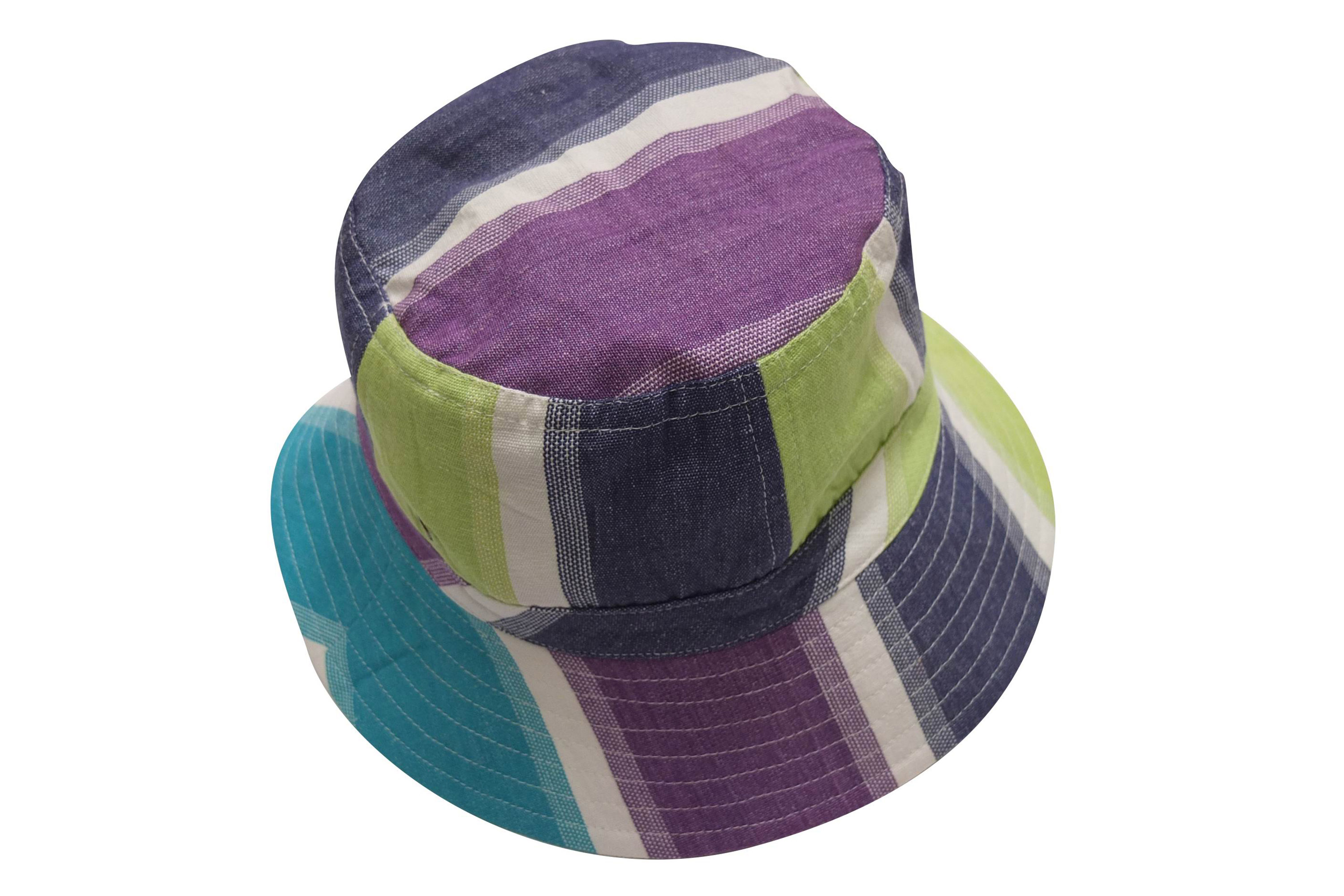 Striped Sun Hats | Sun Protection Hat Lime Green, Turquoise, White Stripes