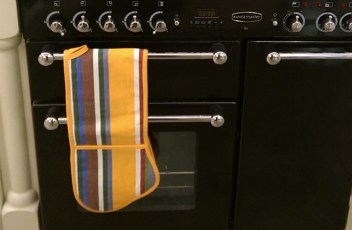 pink, blue, orange - Striped Oven Gloves | Double Oven Mitts