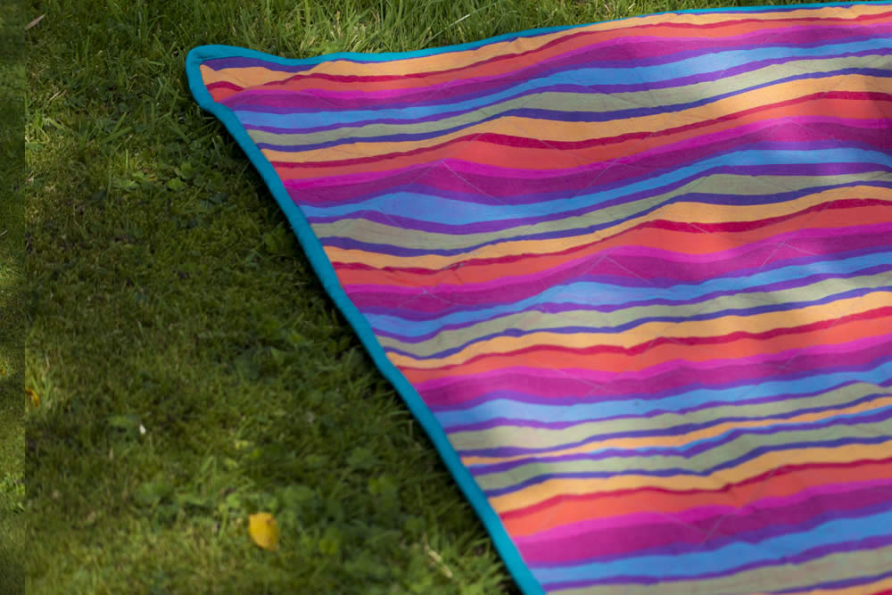 multi colour pink green blue - Striped Picnic Blankets with Carry Bag | Roll Up Stripe Picnic Rugs