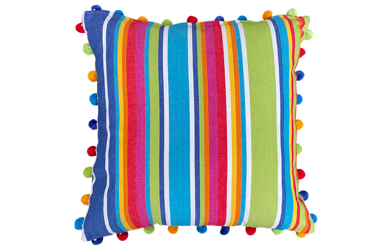 Blue, Green and Red Striped Pompom Cushion 50x50cm