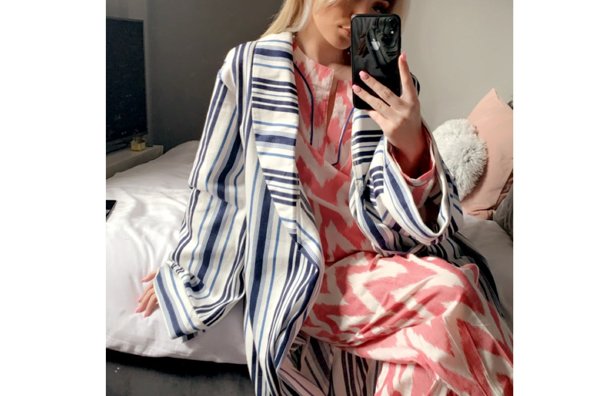 White, Airforce Blue and Navy Striped Robe /  Ladies Dressing Gown