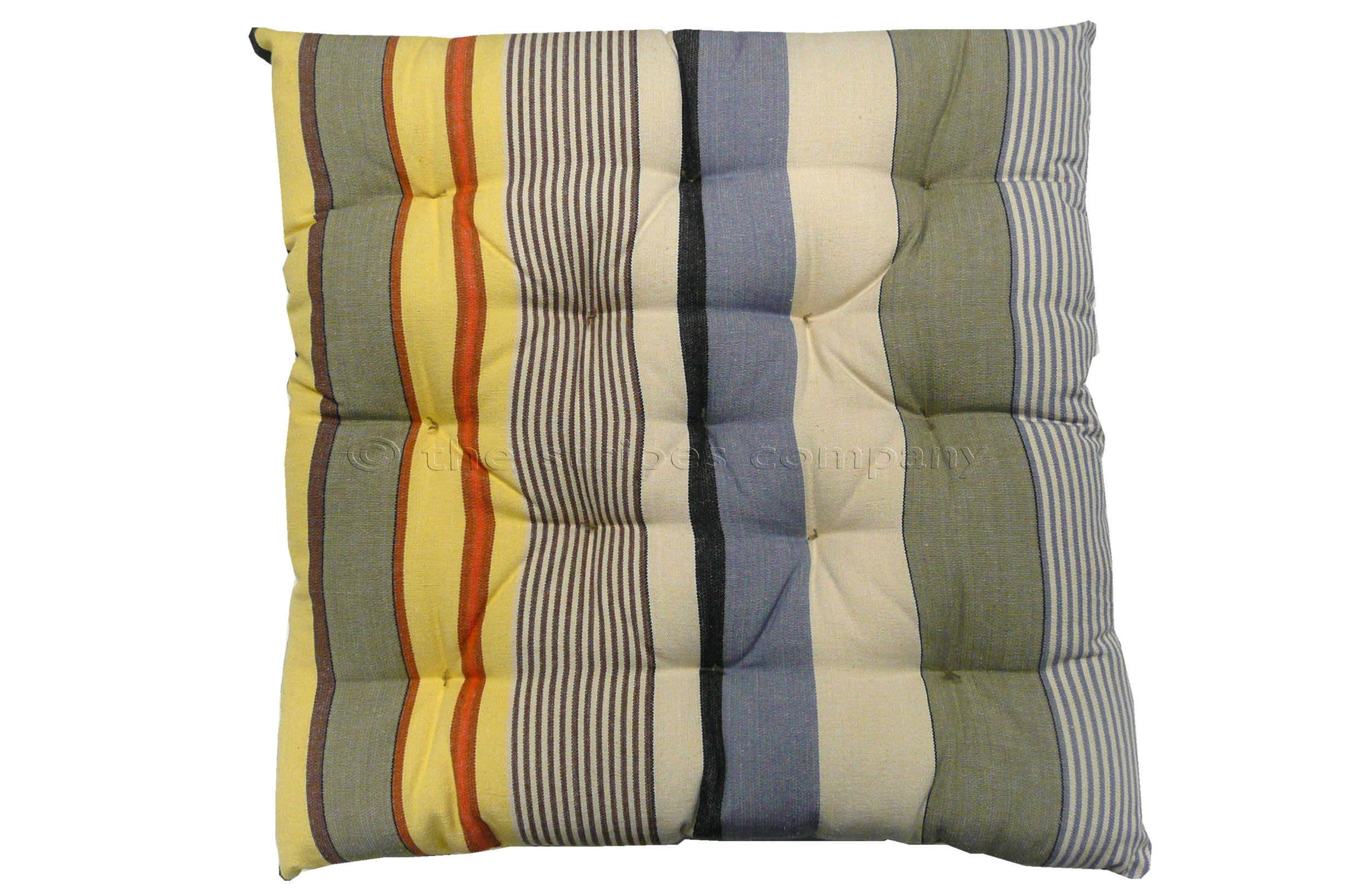 blue, beige, grey - Seat Pad Cushions | Striped Seat Pads