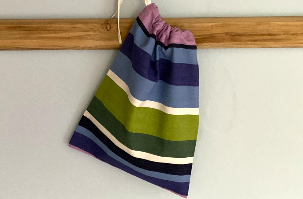 Blue, White, Purple and Green Stripe Shoe Bags