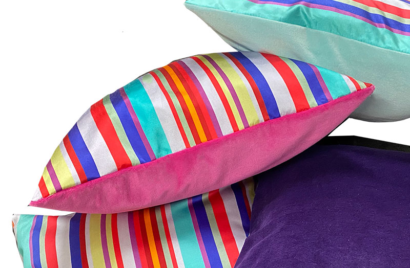 Striped Silk and Pink Velvet Cushion