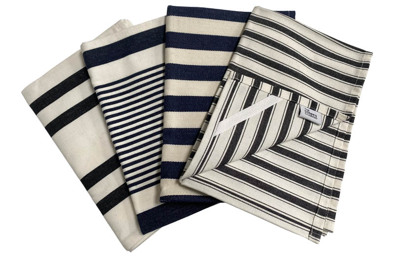 Set of 4 Black and White Striped Tea Towels